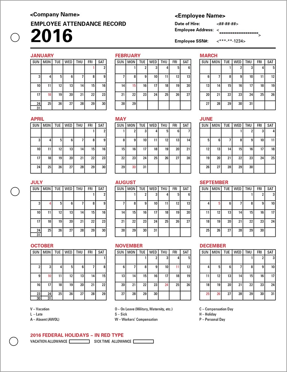 0000407 Adp Employee Attendance Record Calendar At Employee regarding Blank Employee Attendance Calendar Monthly