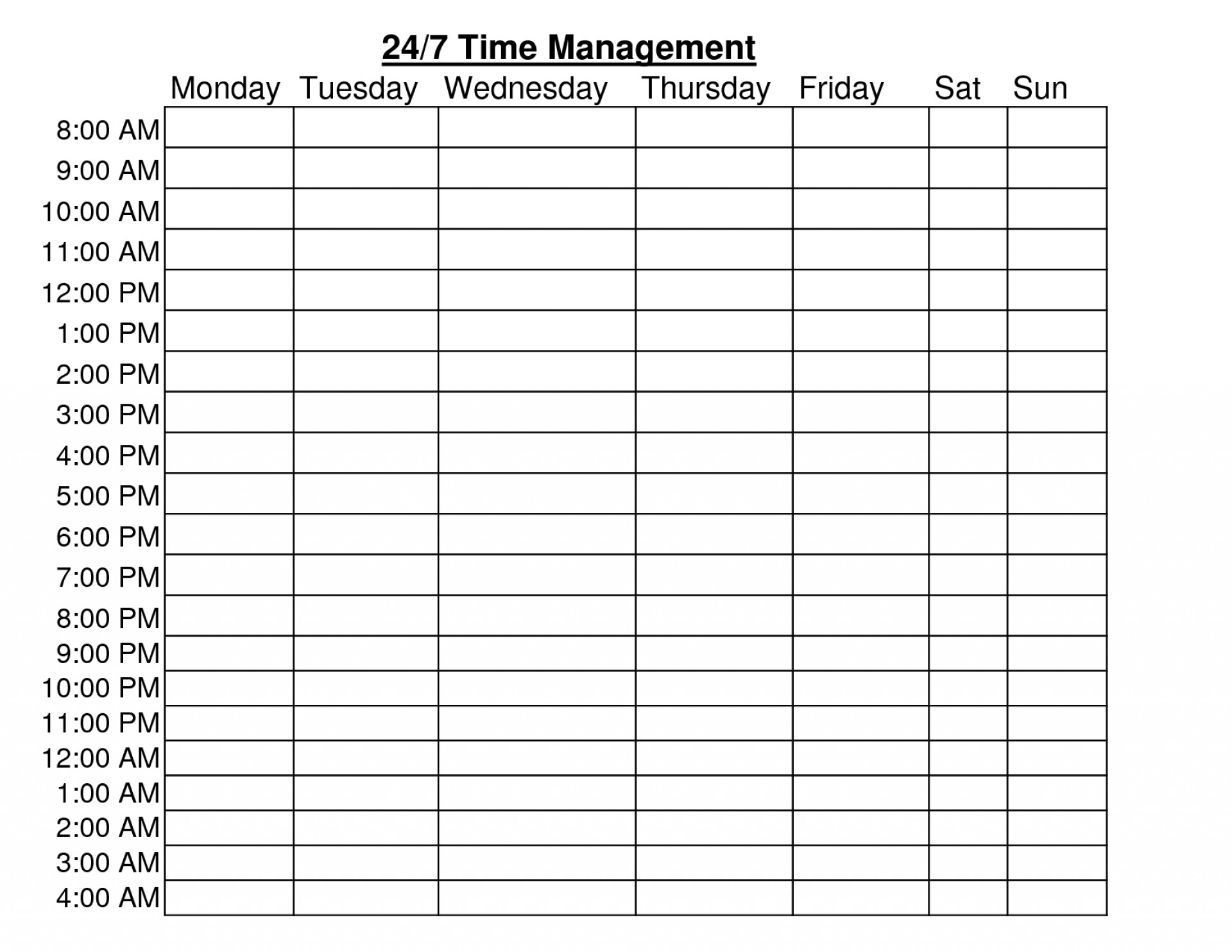002 Hr Schedule Template Ideas 20Weekly Free Printable Chainimage with regard to 24 Hour Daily Agenda Printable