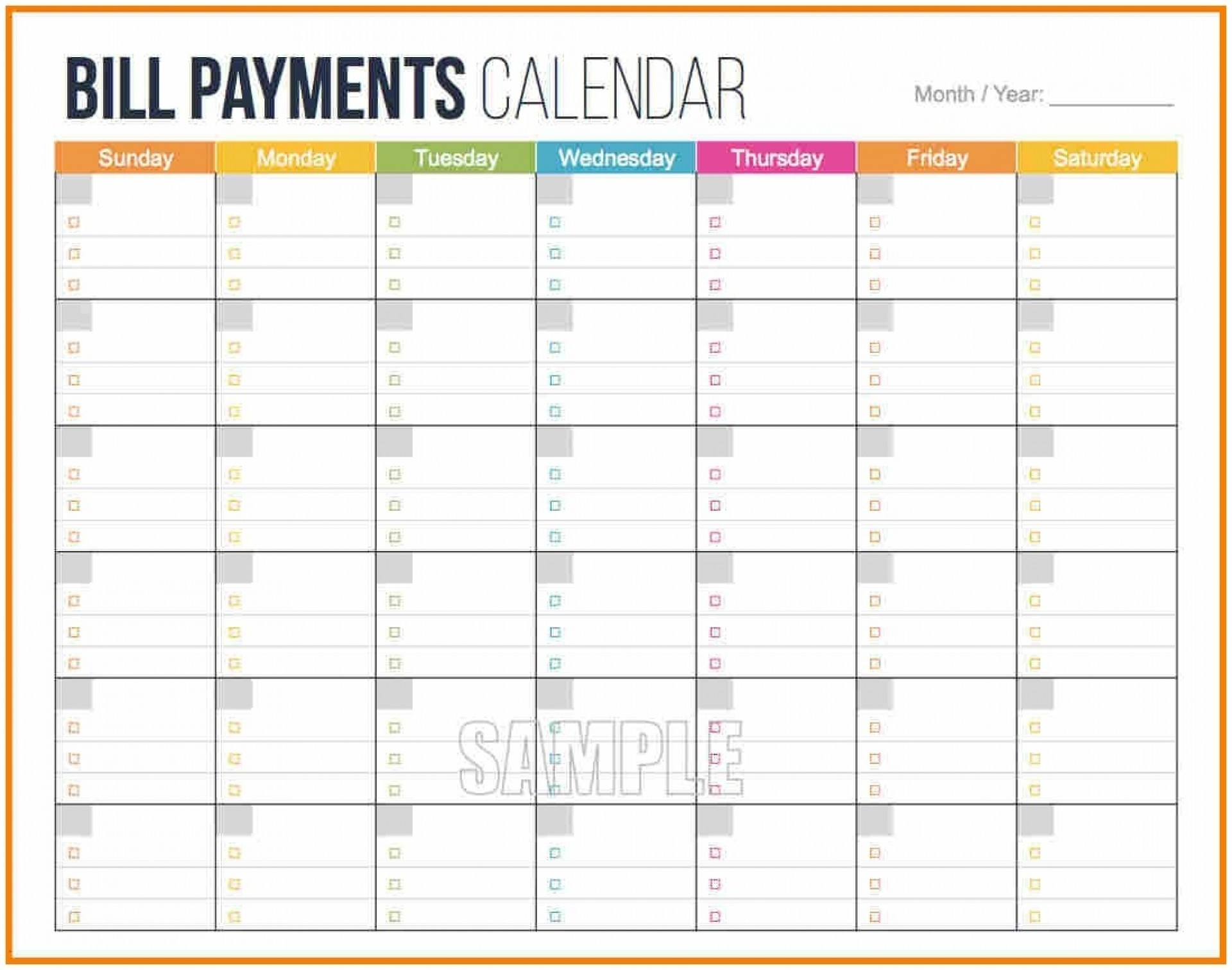 006 Bill Payment Schedule Template 20Schedule Format Excel Monthly within Bill Payment Calendar Template Printable