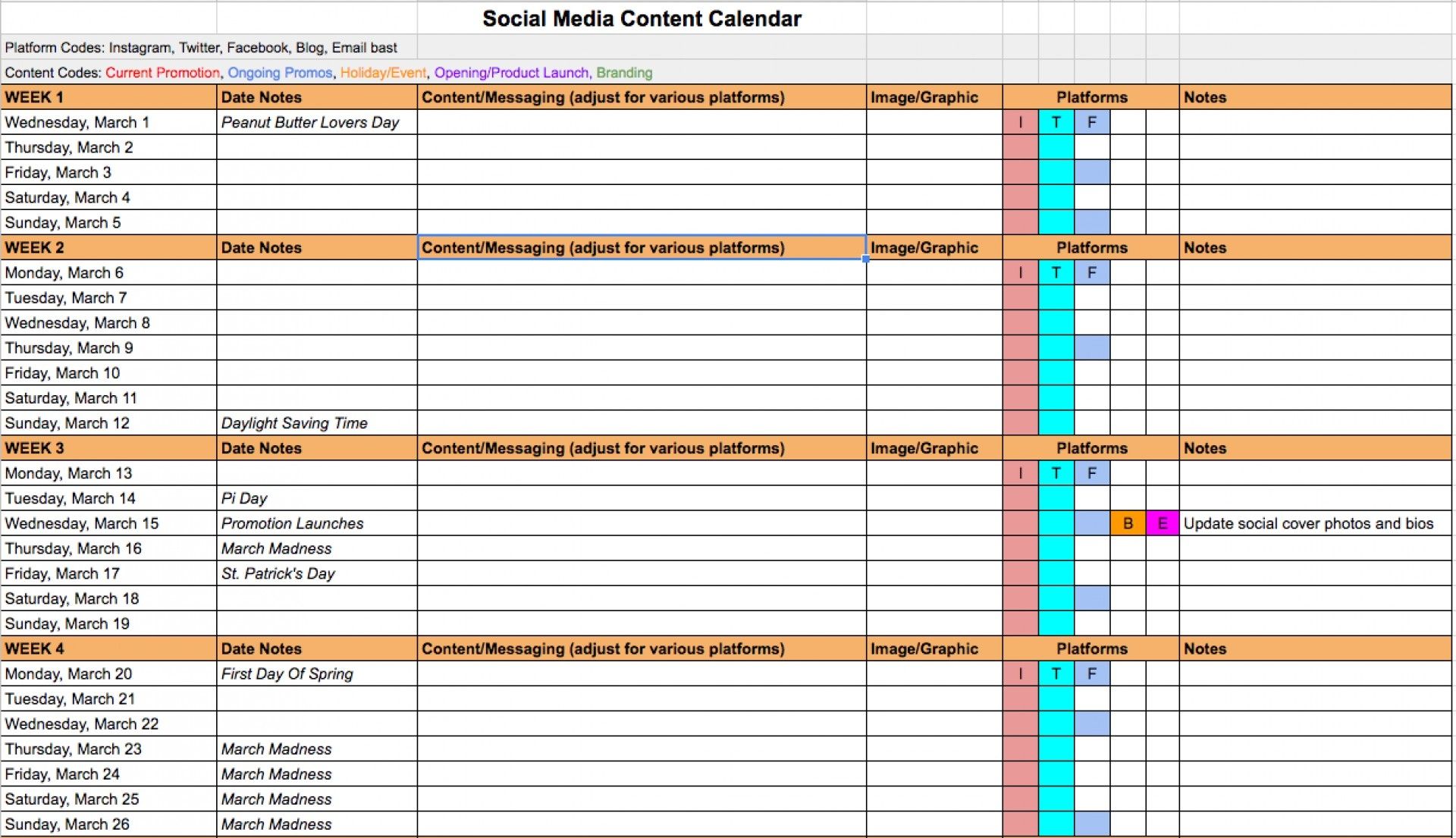 007 Template Ideas Social Media Calendar Archaicawful Creating A regarding Social Media Content Calendar Excel Template Free