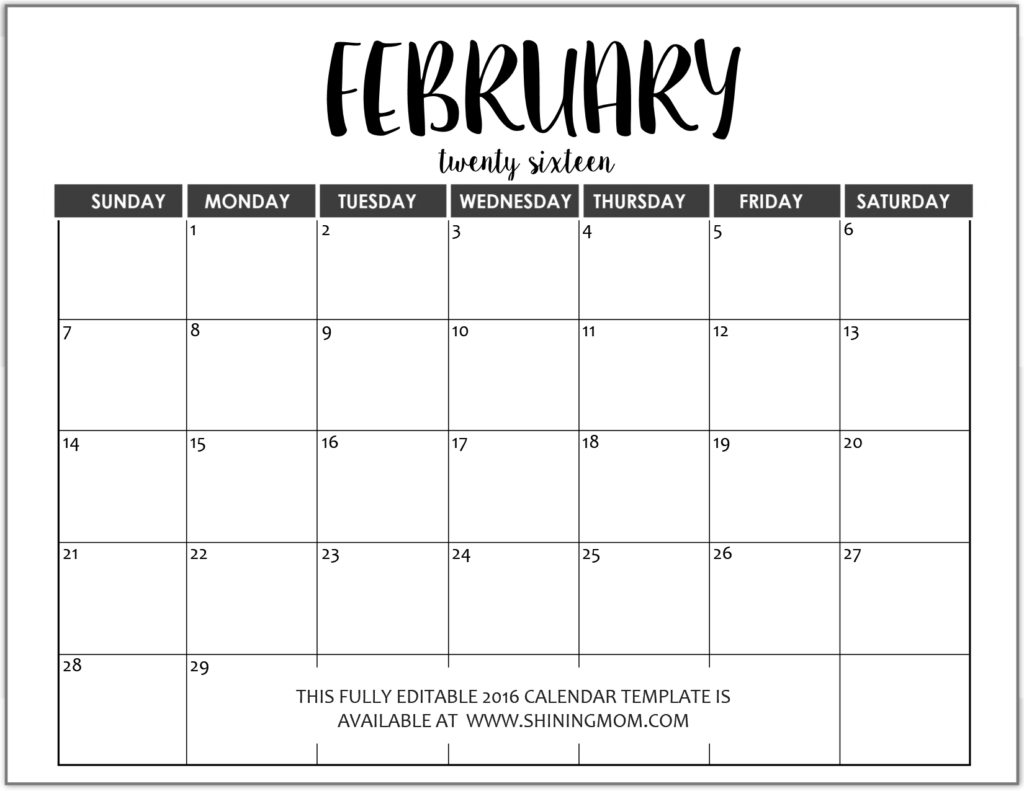 012 Monthly Calendar Templates Free Editable Fully February In Ms for Free Fill In Calendar Templates Month
