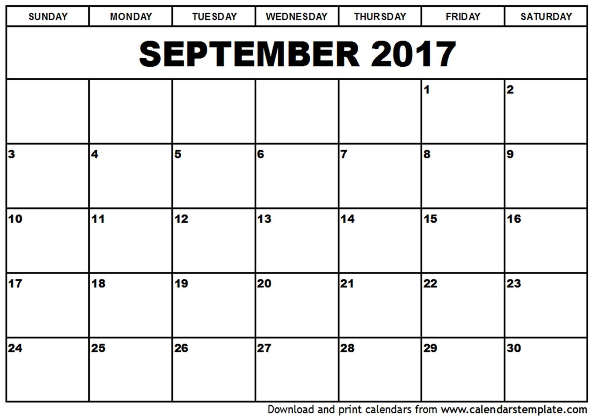 017 Calendar Monthly Template Imposing 2017 Ideas September October throughout Calendar For The Month Of September