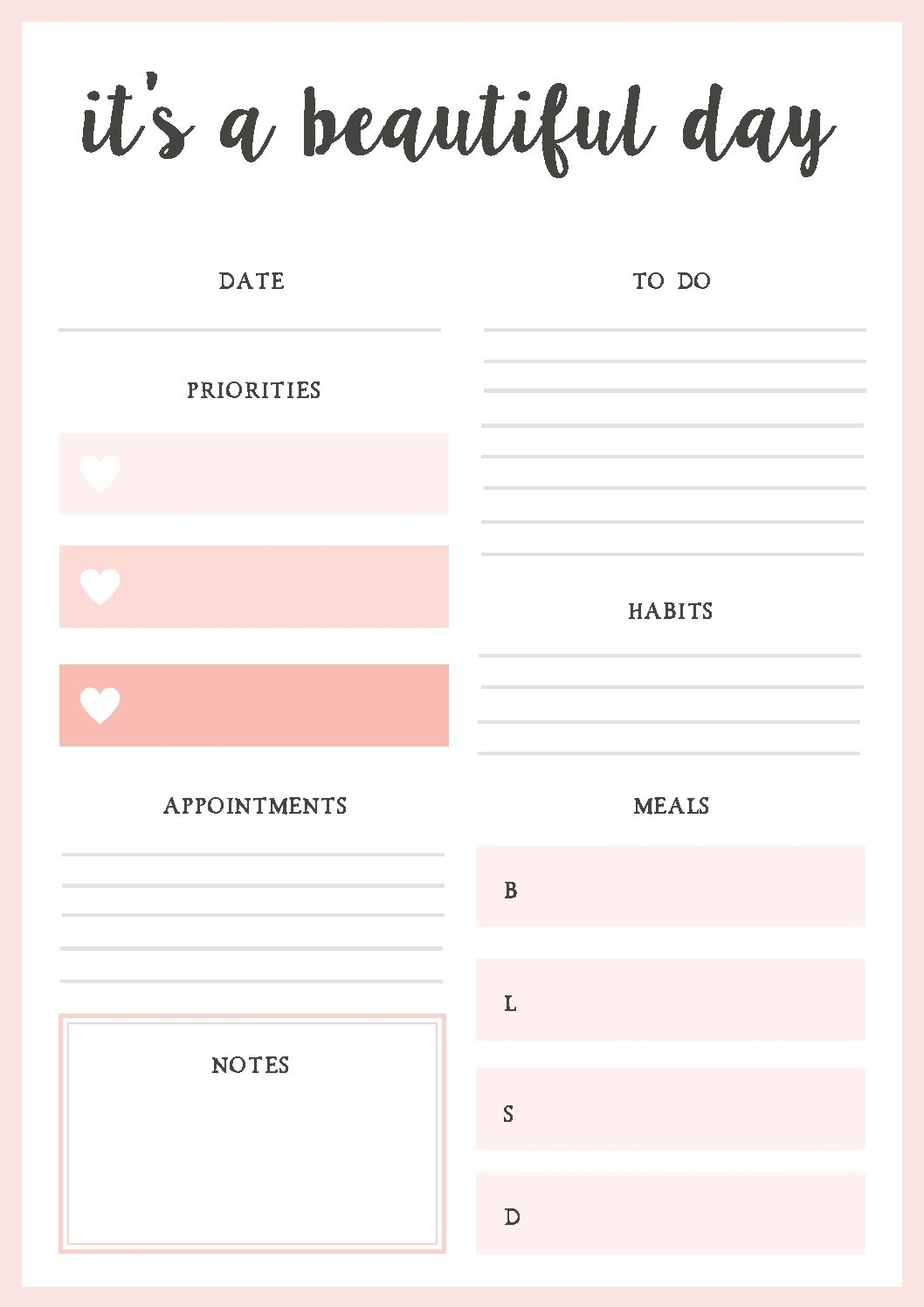 018 Daily Planner Template Printable Personal Pdf Fantastic Ideas in Daily Planner Template Printable Free