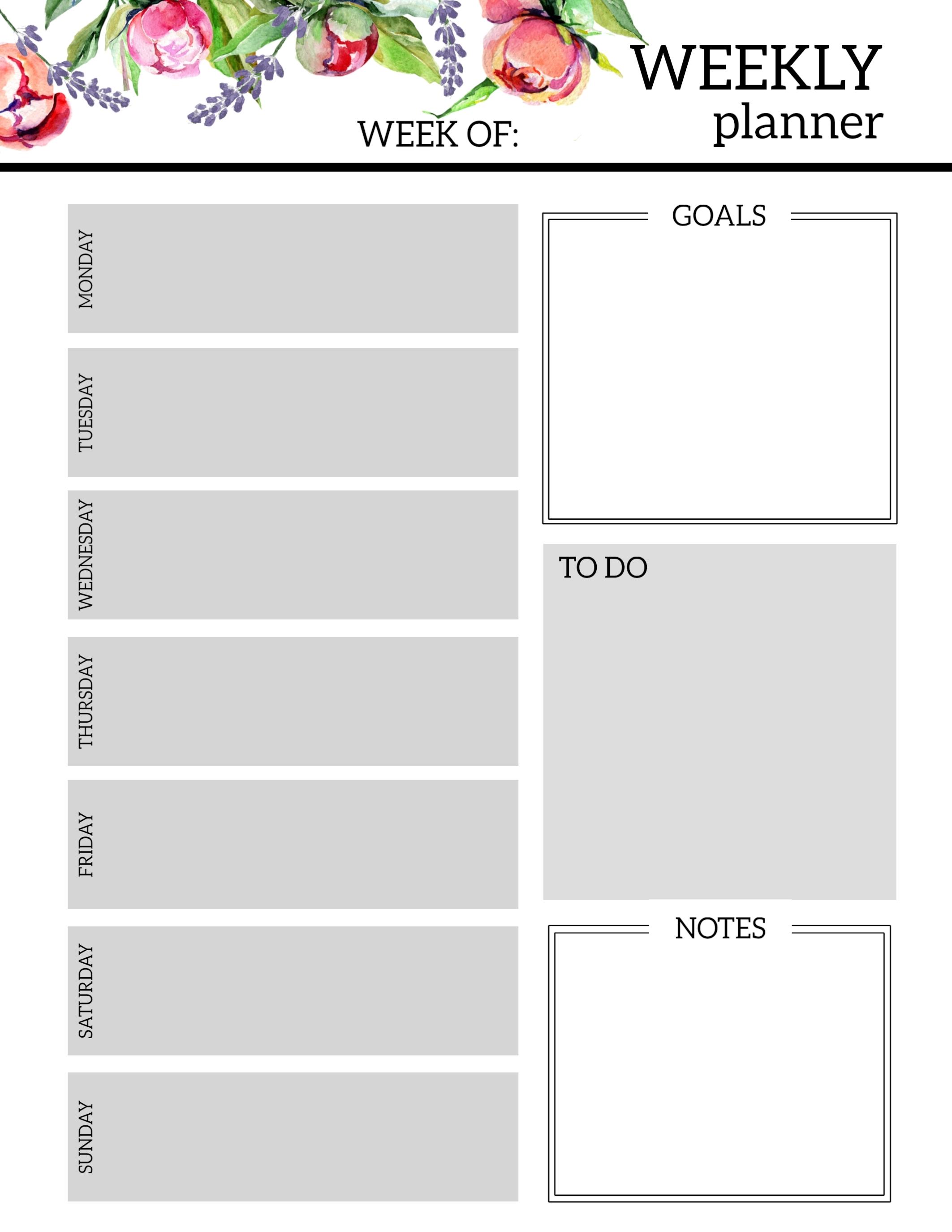 Weekly Calander Lesson Plan Template - Calendar ...