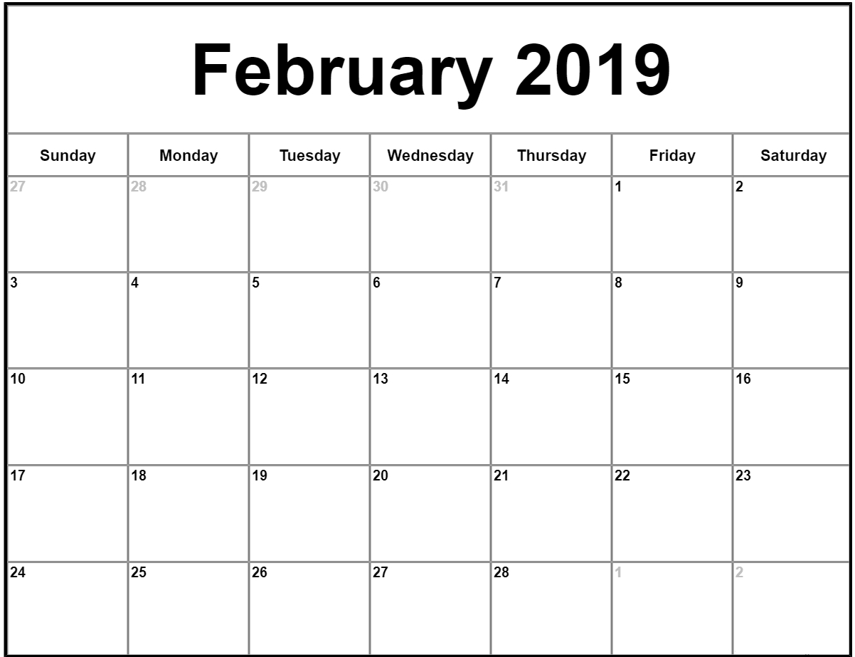 022 Free Printable Calendar Templates February Month Template intended for Template Of A Blank Calendar Of A Month