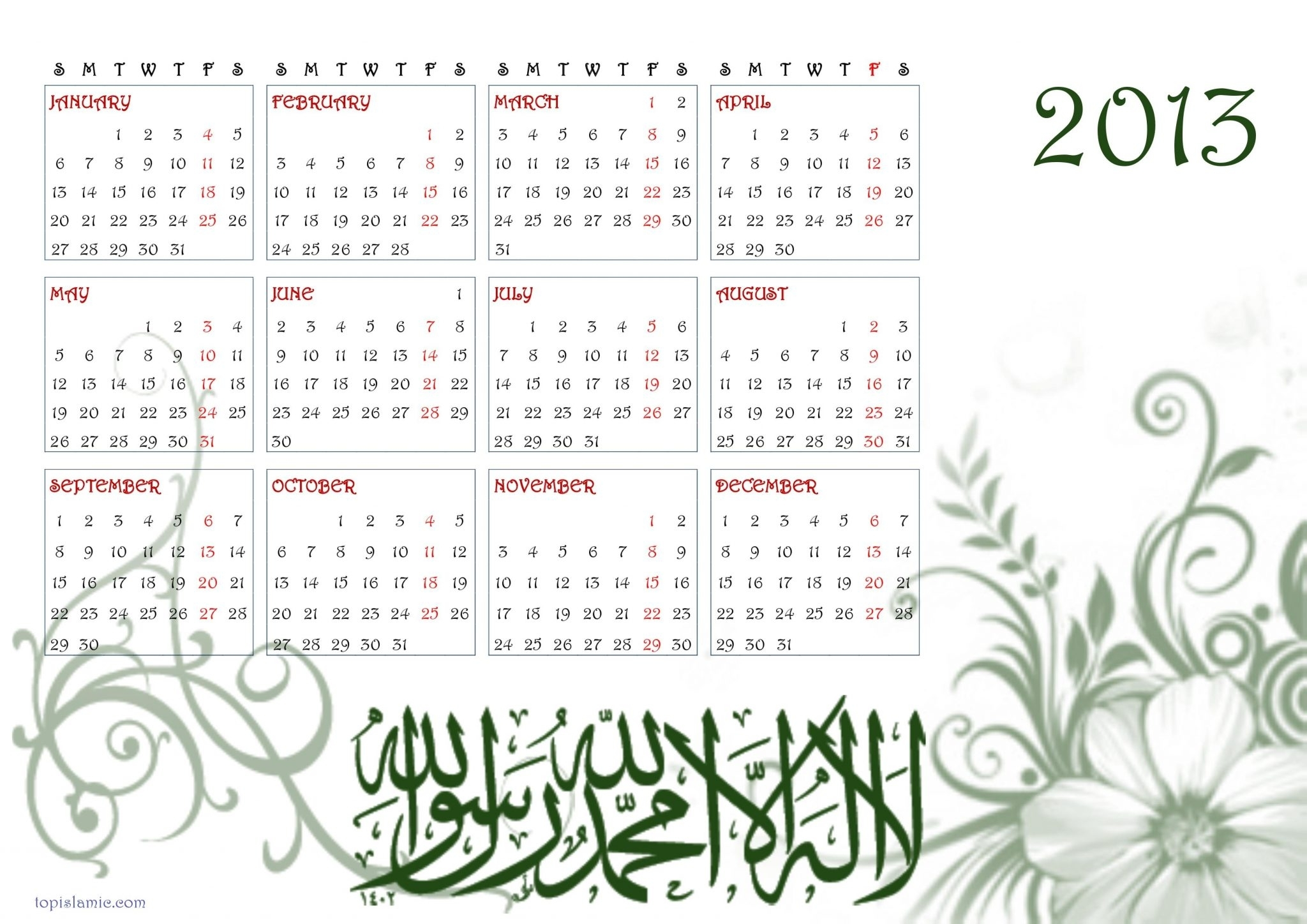 10 Exceptional Islamic Calendar 2013 To Download And Print | Yearly pertaining to Free Calendar 2012 December Islamic