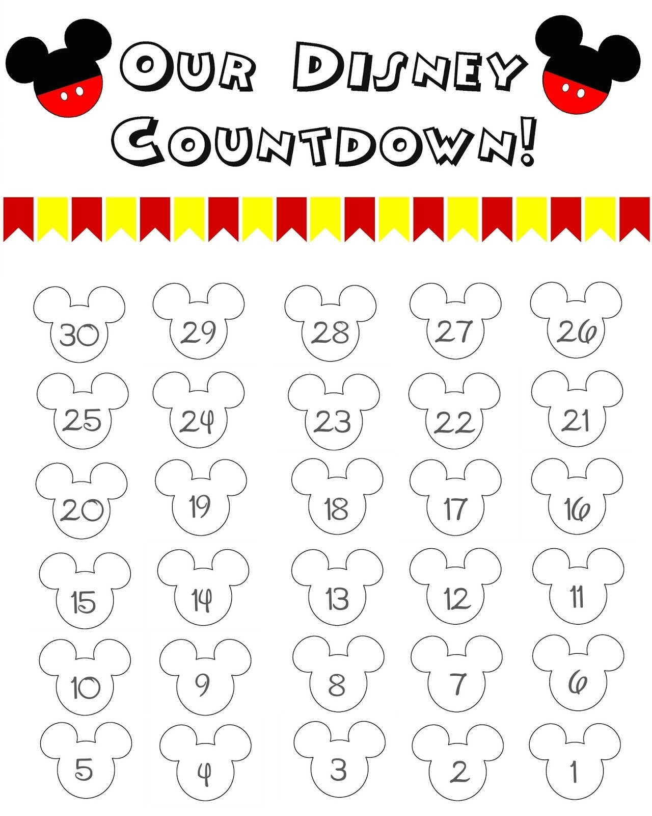 10 Fun Printable Disney Countdown Calendars | Kittybabylove regarding 99 Days To Disney Printable Calendar