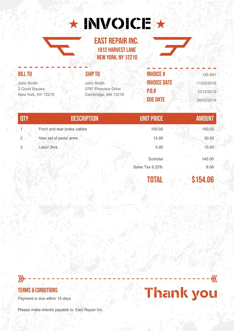 100 Free Invoice Templates | Print & Email As Pdf | Fast & Secure in Template For Bills To Print
