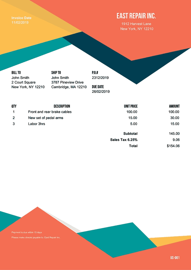 100 Free Invoice Templates   Print & Email As Pdf   Fast & Secure with Layout Sheet For Bill Paying
