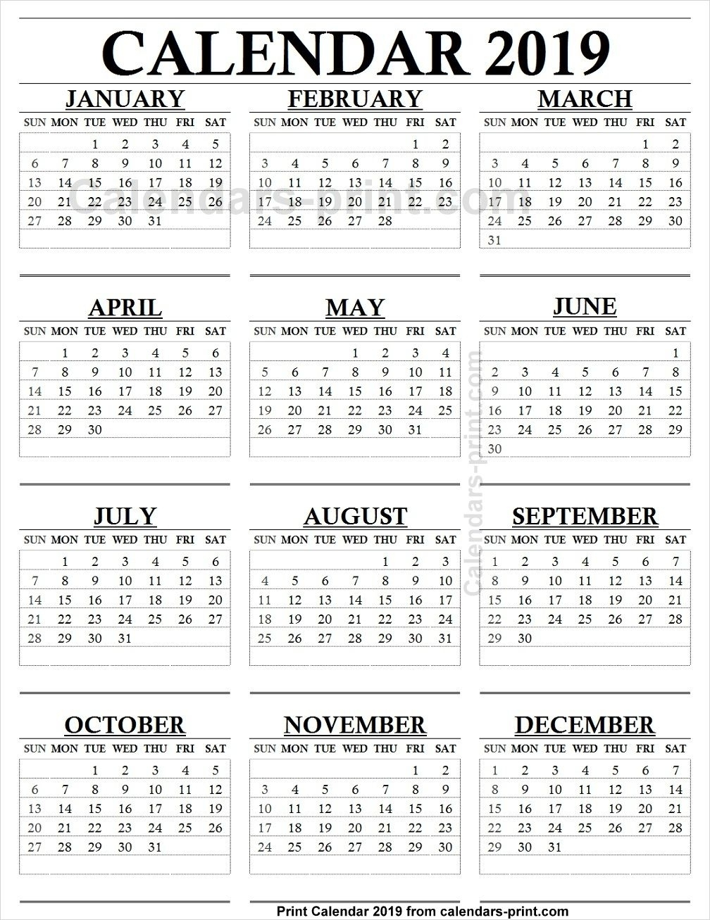 12 Month Calendar 2019 One Page | 2019 Yearly Calendar | 12 Month for 12 Month Calendar One Page