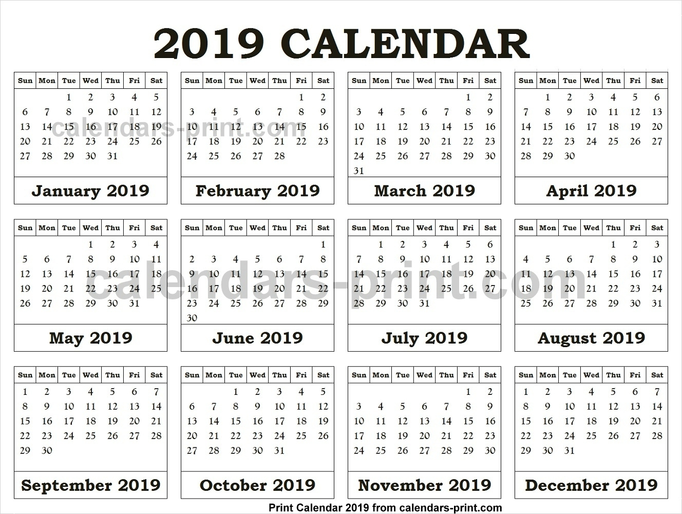 12 Month Calendar 2019 One Page To Print Free | Blank Pdf Template for Template For Calendar With 12 Months On One Page
