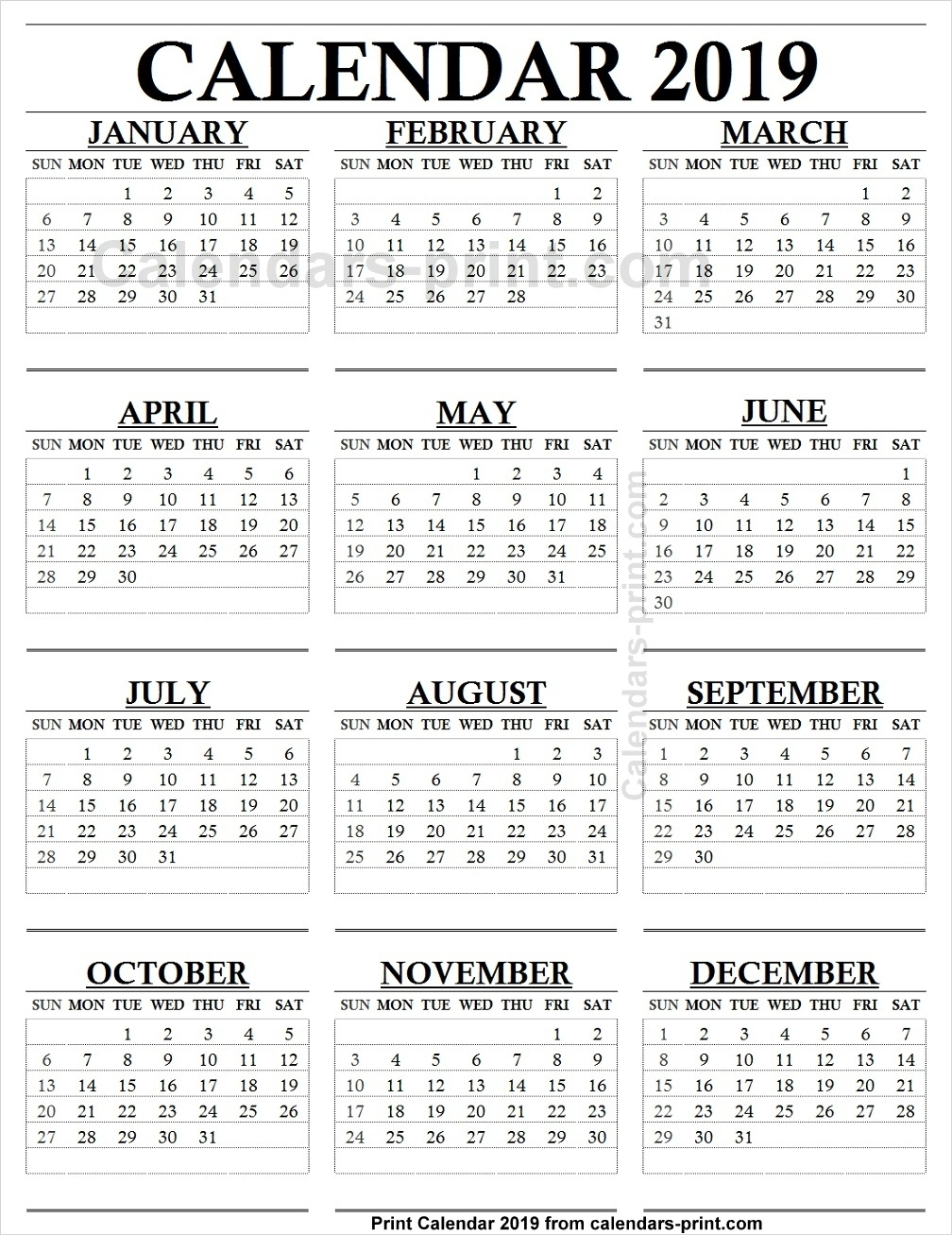 12 Month Calendar 2019 One Page To Print Free | Blank Pdf Template regarding 12 Month Calendar With Lines