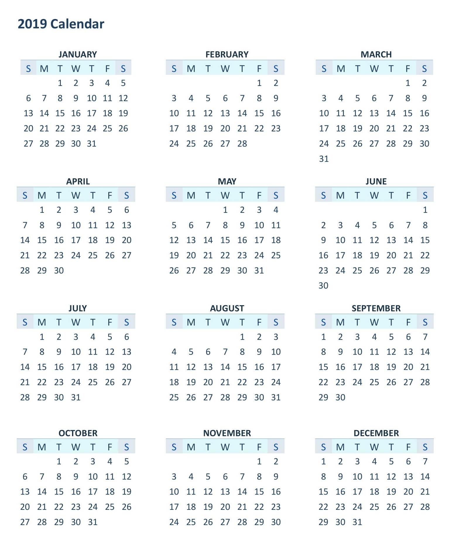 12 Month Calendar 2019 Template – Printable 2018 Calendars Templates inside 12 Month Calendar Template Printable