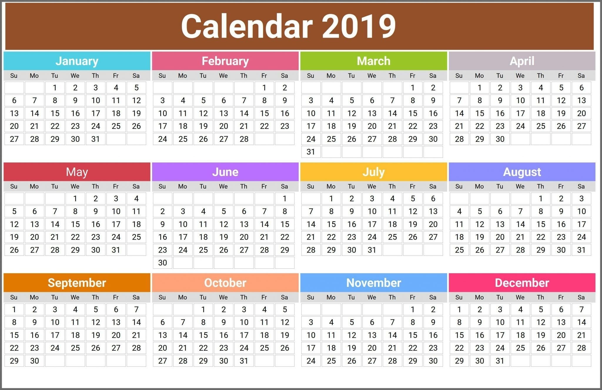 12 Month Calendar In One Page | Top 10 Free 2019 Calendar Printable in 12 Month Calendar Word Template