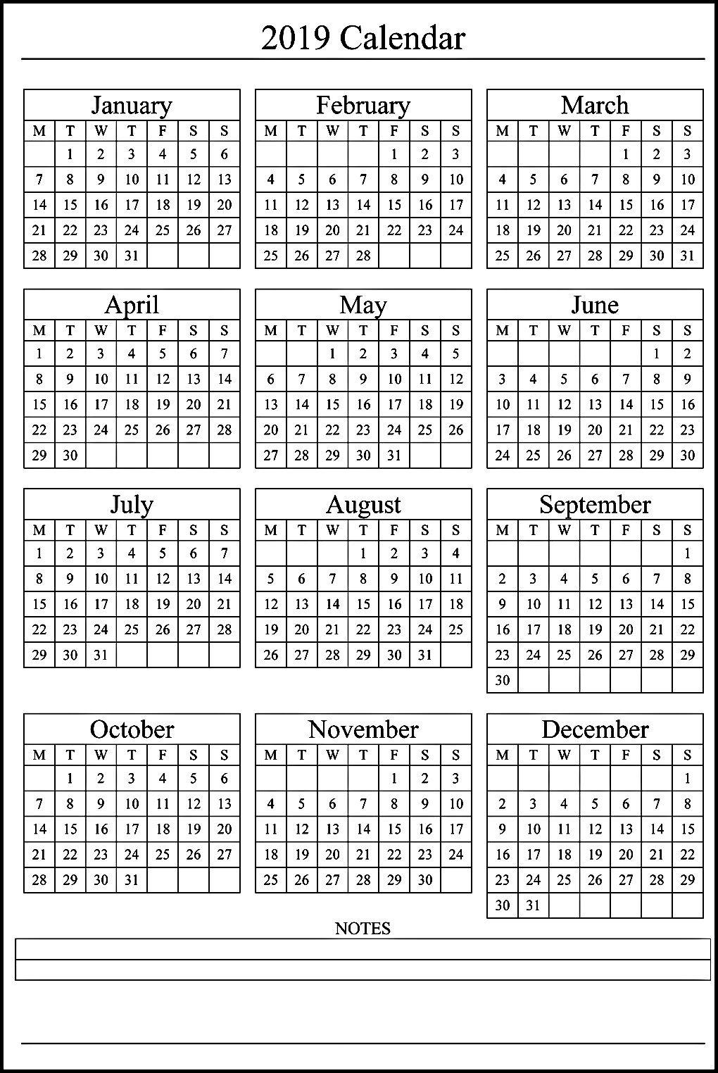 12 Month Calendar On One Page #2019Calendar #holidayscalendar throughout 12 Month Calendar On One Page