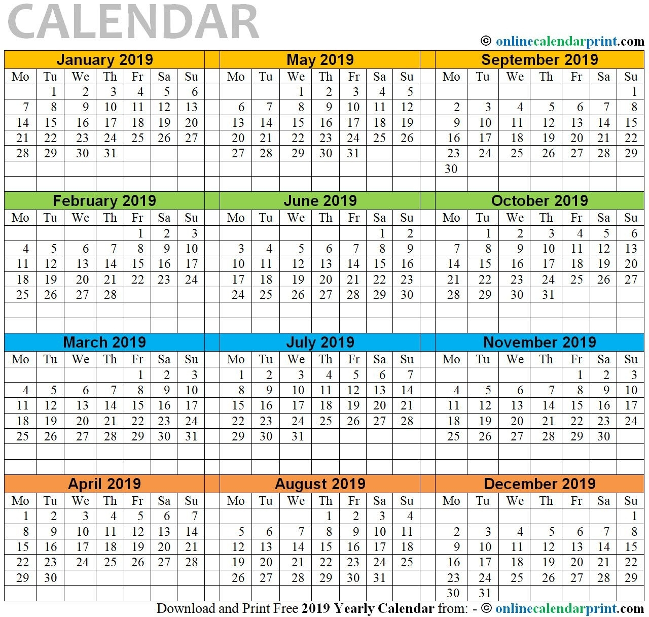 12 Month Calendar Printable One Page 2019 | Monthly Calendar with regard to 12 Month Calendar On One Page