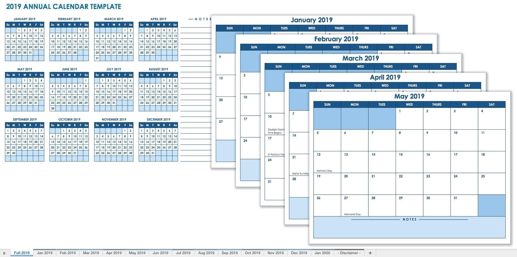 12 Month Calendar Template 2019 | Calendars | Free Monthly Calendar in 12 Month Blank Calendar Template