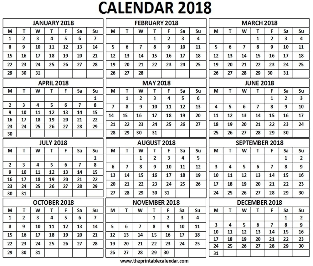 12 Month One Page Calendar | Template Calendar Printable inside 12 Month Calendar One Page