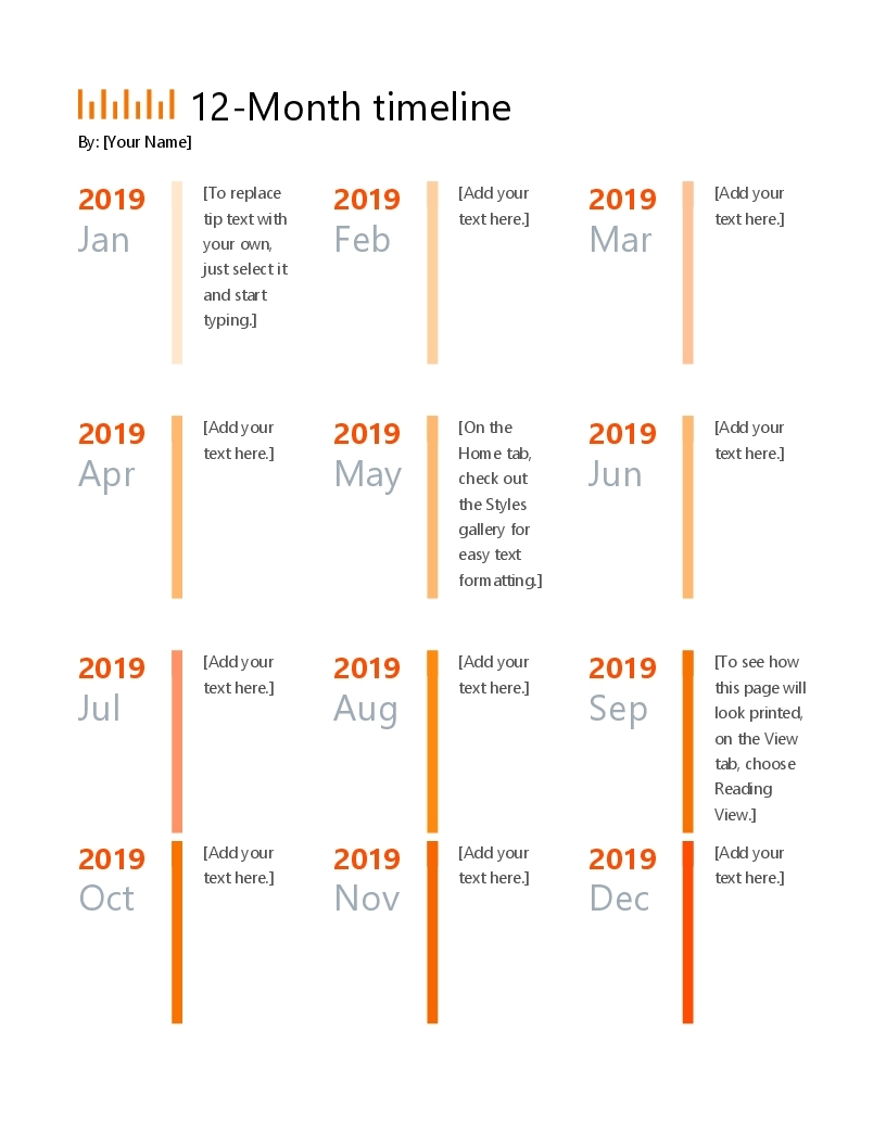 12-Month Timeline within Basic Monthly Calendar For Editing