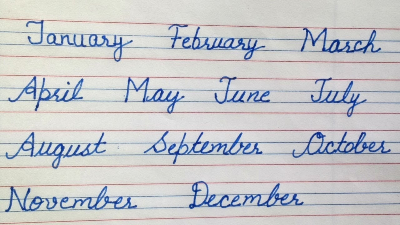 12 Months Of The Year Cursive Writing For Beginners Month Of The within July-December Writing Months Of The Year Worksheet