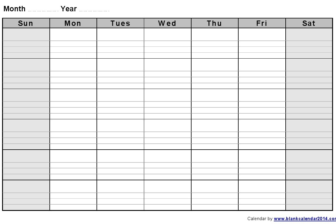 13 Large Blank Monthly Calendar Template Images - Printable Blank inside Large Blank Monthly Calendar To Fill In