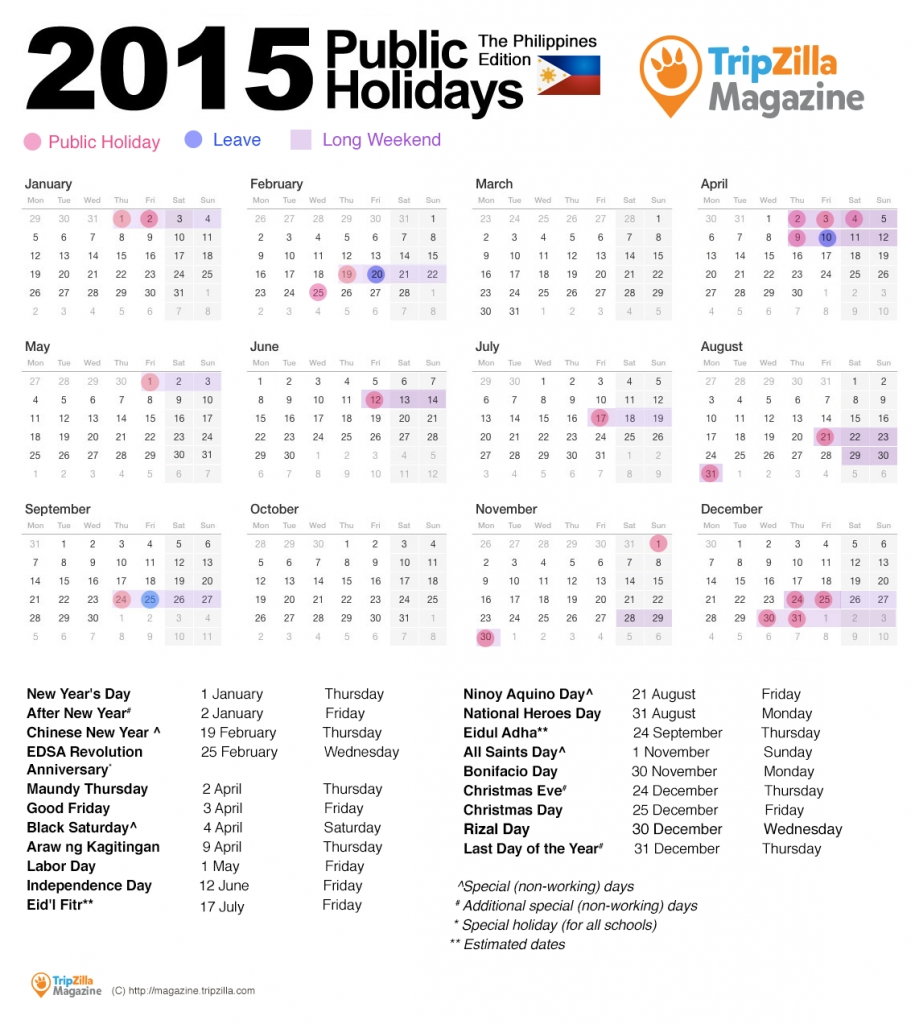 13 Long Weekends In The Philippines In 2015 – Chill And Travel pertaining to Islamic Calendar For The Philippines