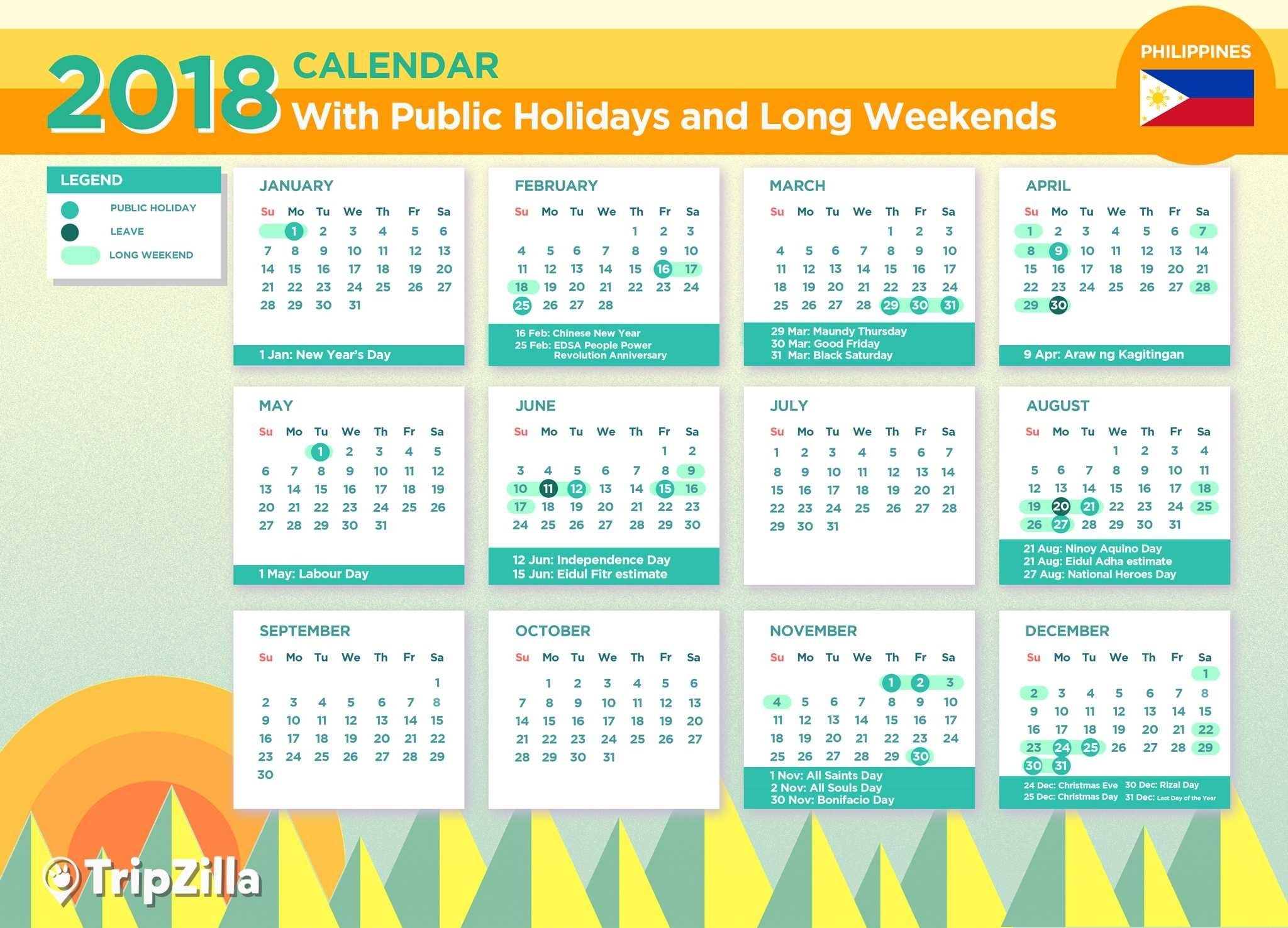 13 Long Weekends In The Philippines In 2018 with Islamic Calendar For The Philippines