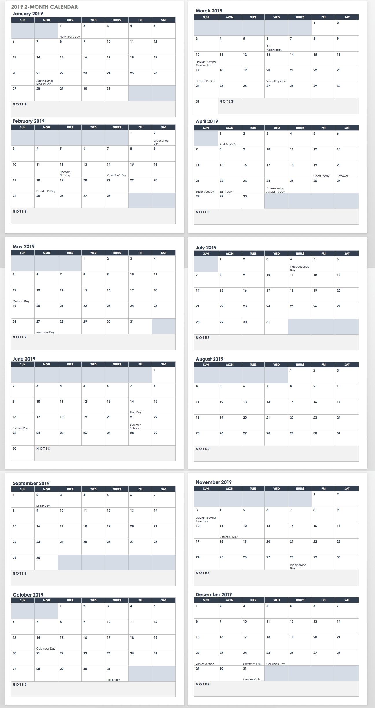 15 Free Monthly Calendar Templates | Smartsheet for 2 Month Calendar Template Printable