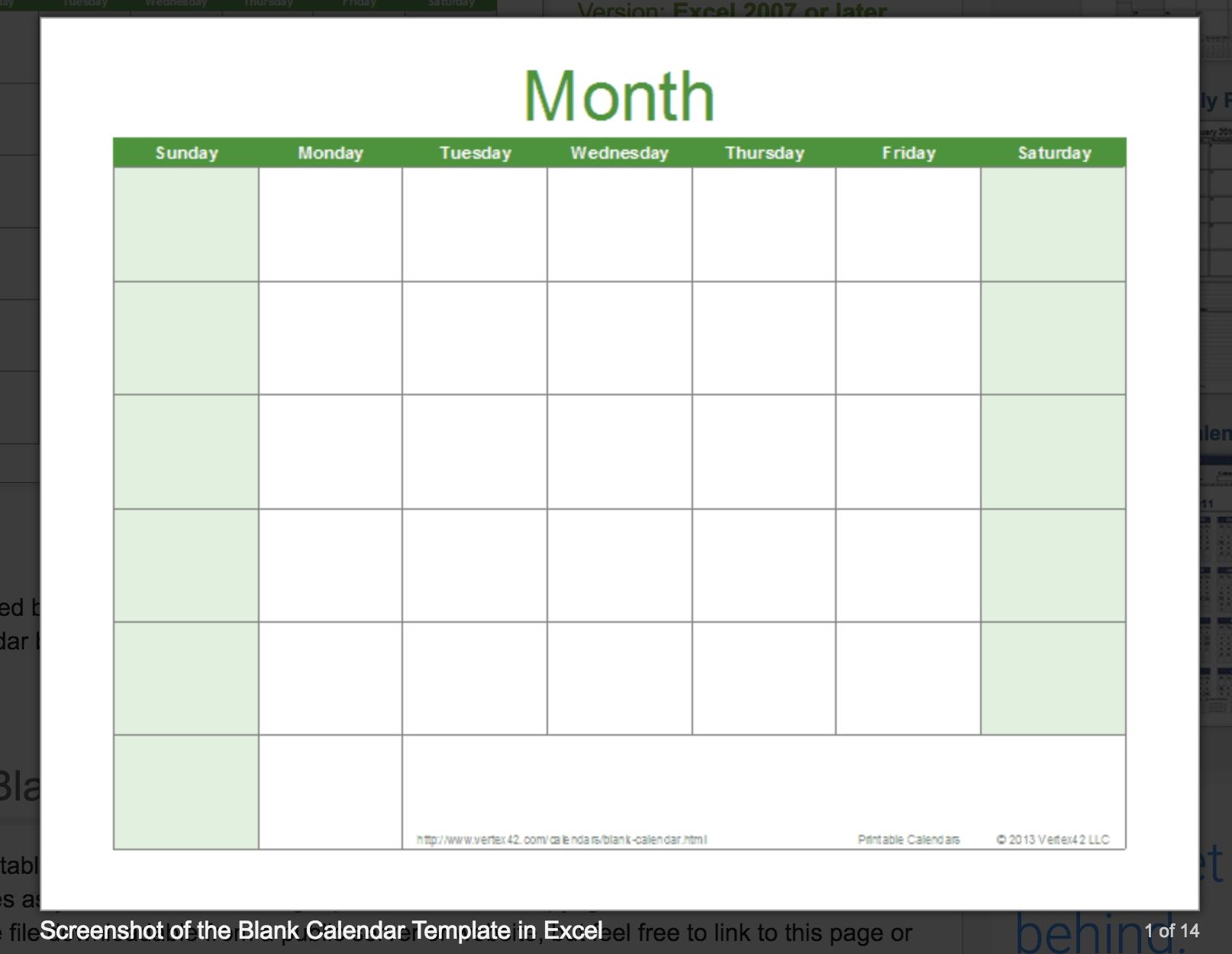15 Free Monthly Calendar Templates Smartsheet. Free Blank Calendar pertaining to Blank Excel Spreadsheet With Calendar