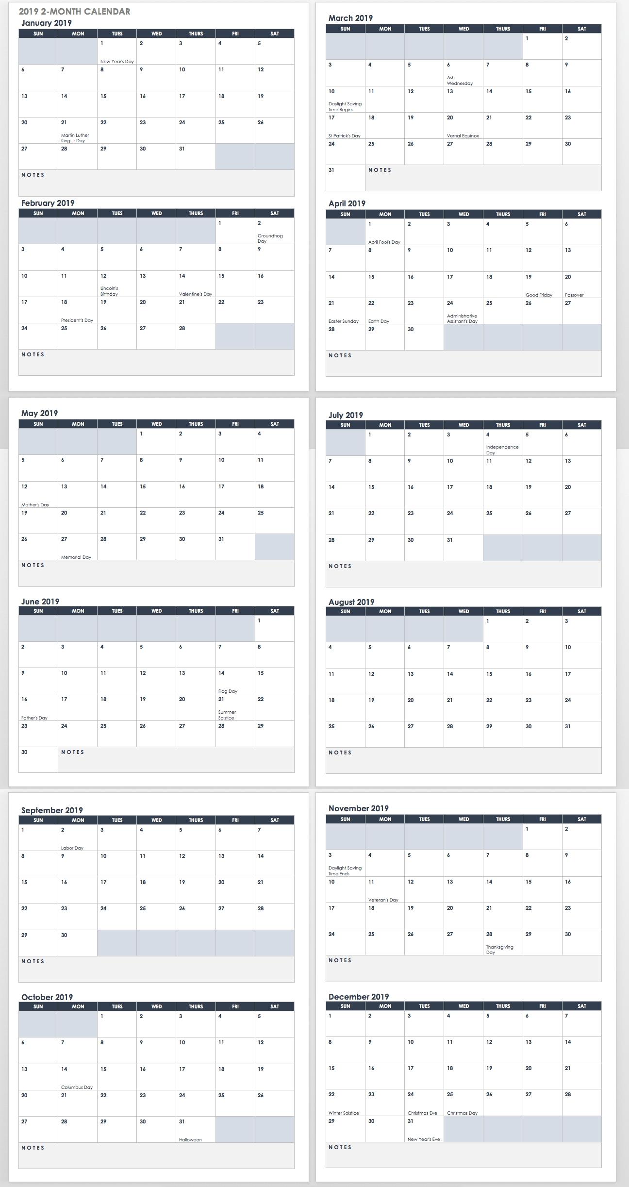 15 Free Monthly Calendar Templates | Smartsheet intended for Monthly Calendar Templates Monday To Friday