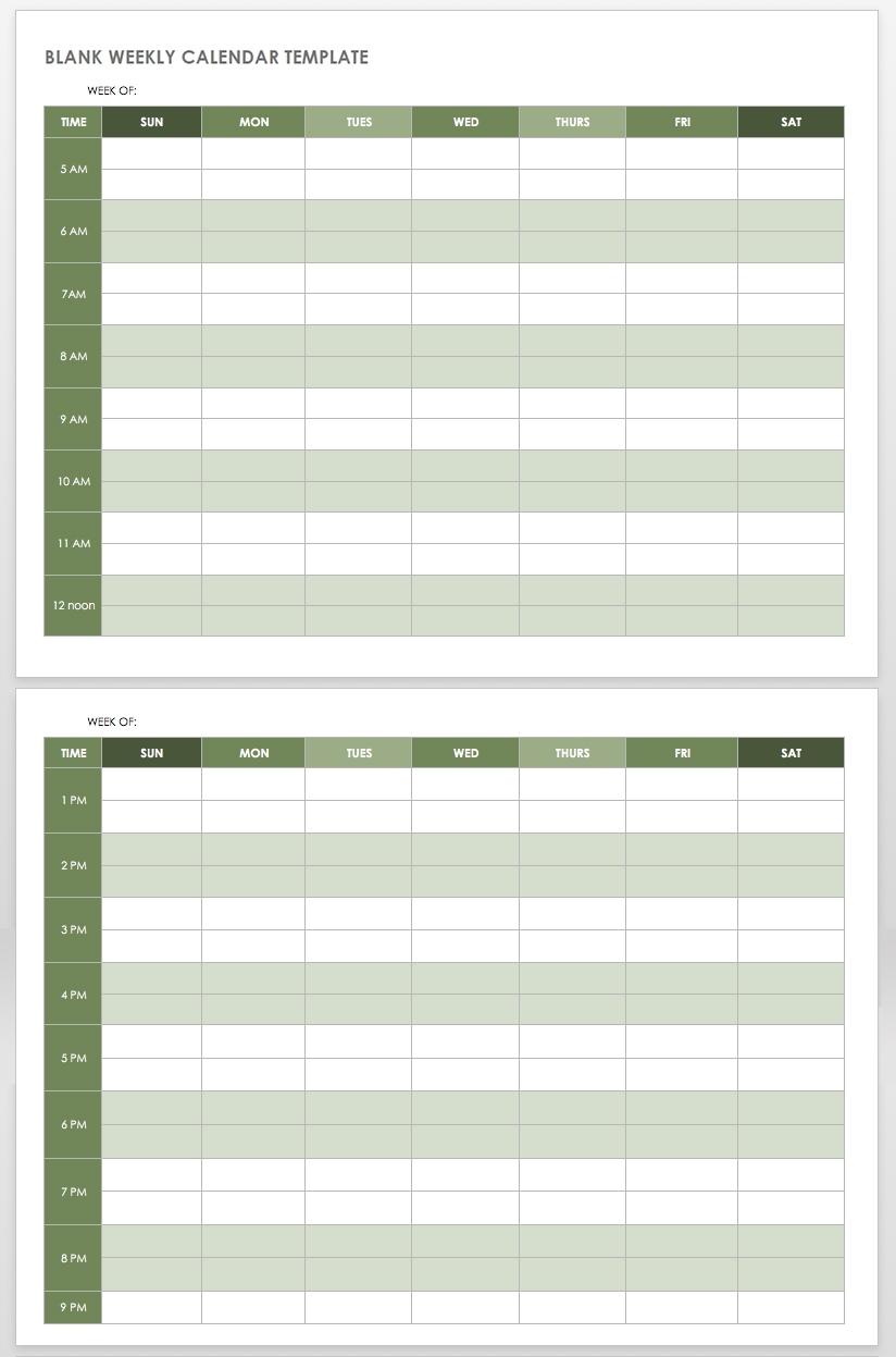 15 Free Weekly Calendar Templates   Smartsheet inside 5 Day Week Calendar Printable