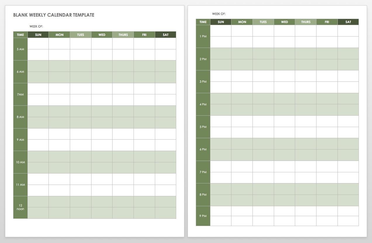 15 Free Weekly Calendar Templates | Smartsheet inside Blank Week Calender With Times