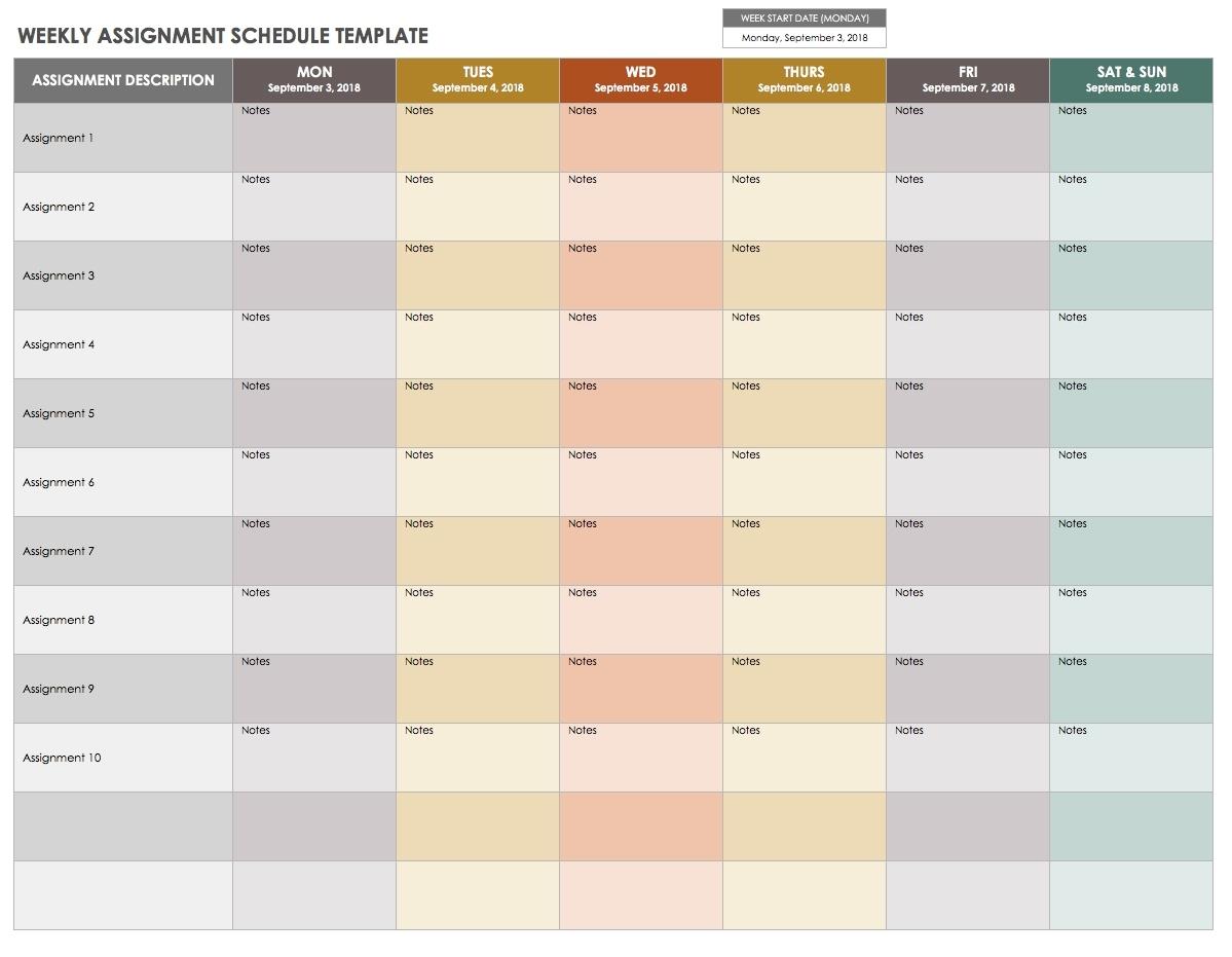 15 Free Weekly Calendar Templates | Smartsheet with Free Printable Weekly Calendar Page With Notes Sections