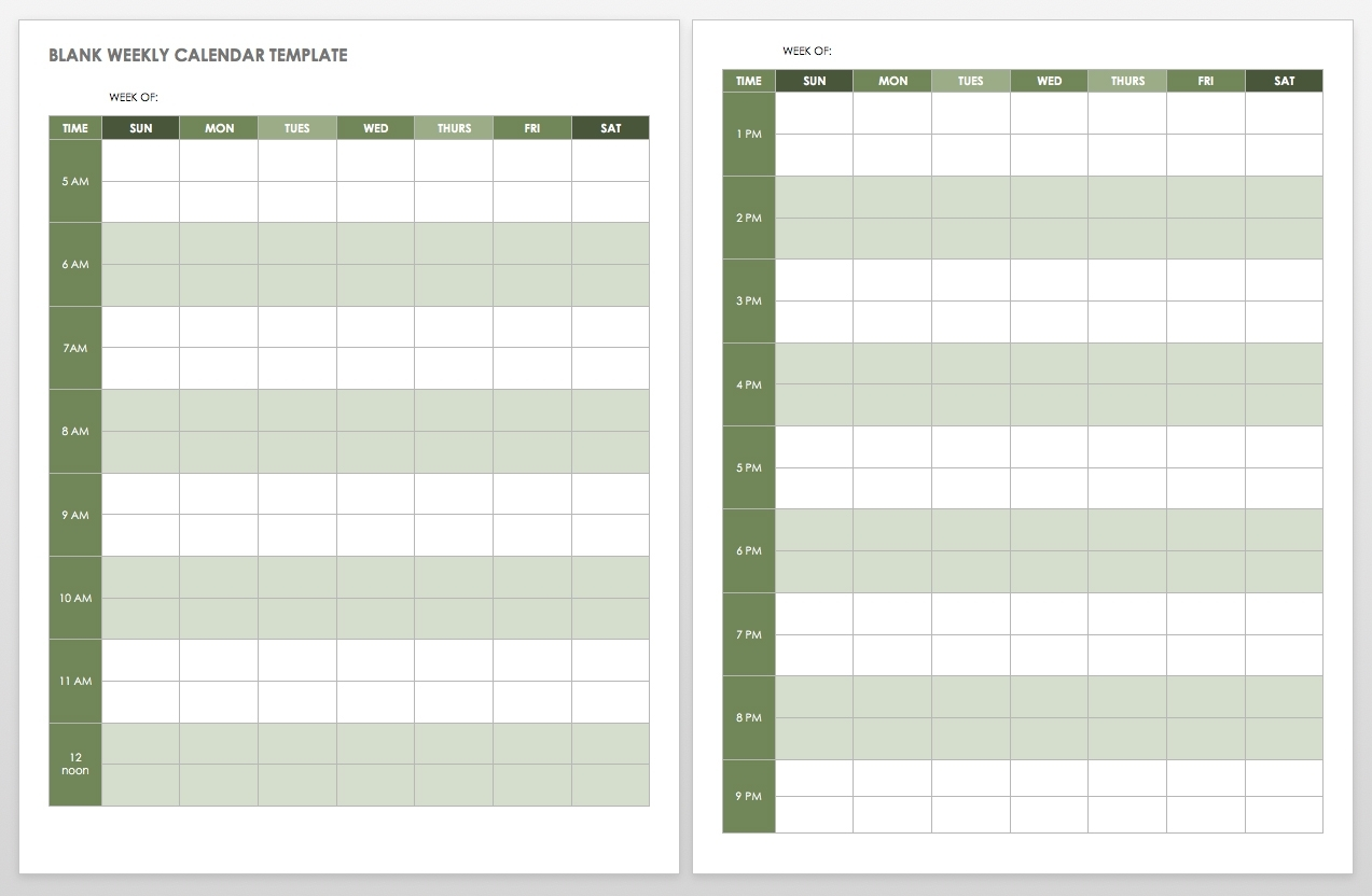 15 Free Weekly Calendar Templates   Smartsheet with regard to Blank Weekly Calender With Time