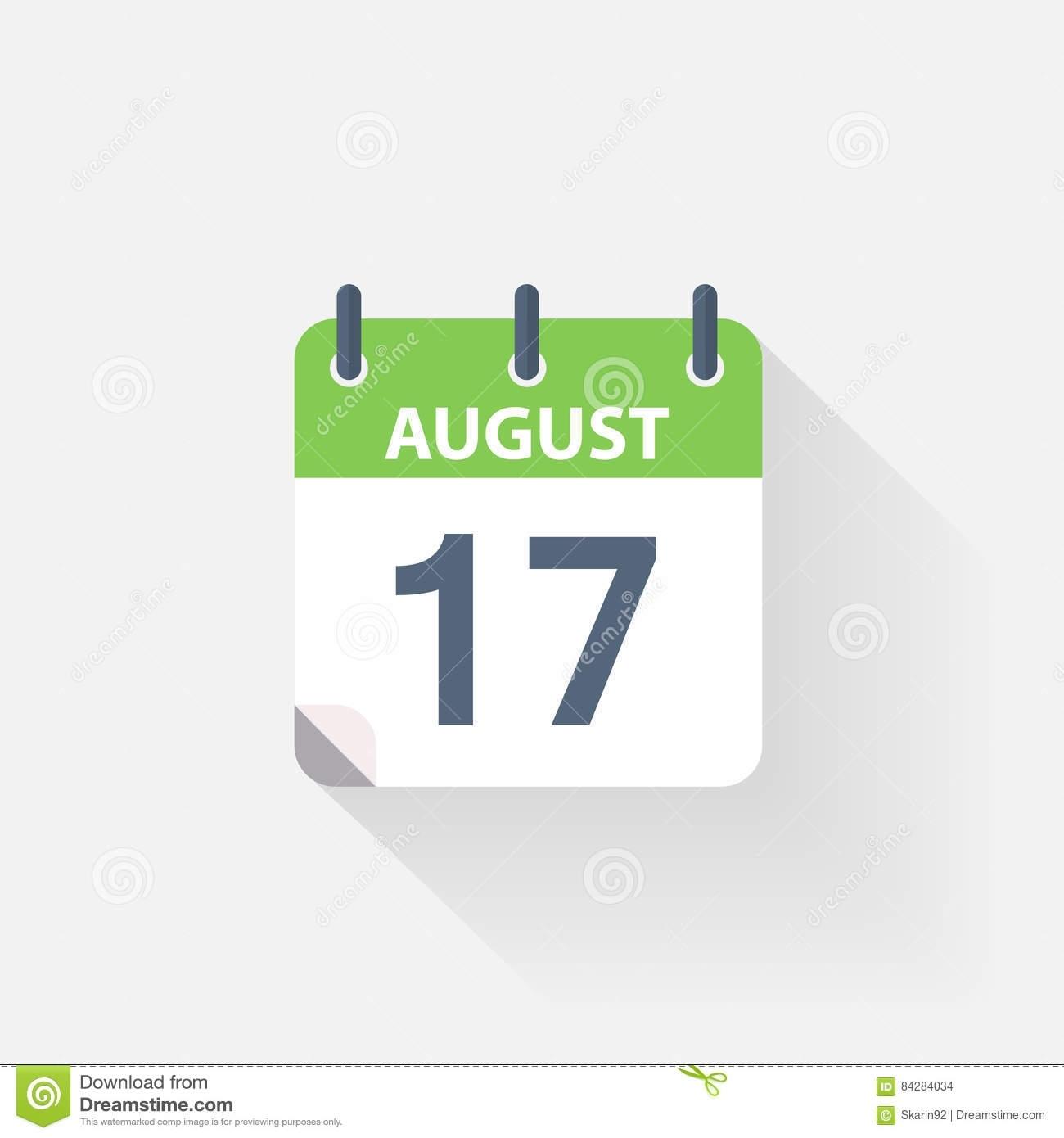 17 De Agosto Icono Del Calendario Ilustración Del Vector in Imagen 17 De Agosto En Calendario