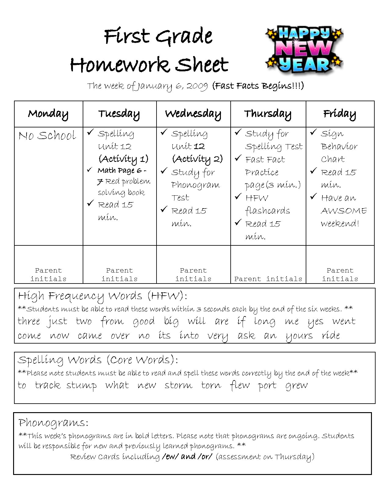 1St Grade Homework Help : For Parents in 1St Grade Homework Chart Templates