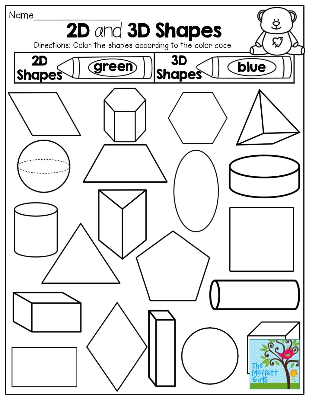 2-D And 3-D Shapes! Colorthe Code! Tons Of Fun Printables in Colouring In Square Sheets For Year Three No Color