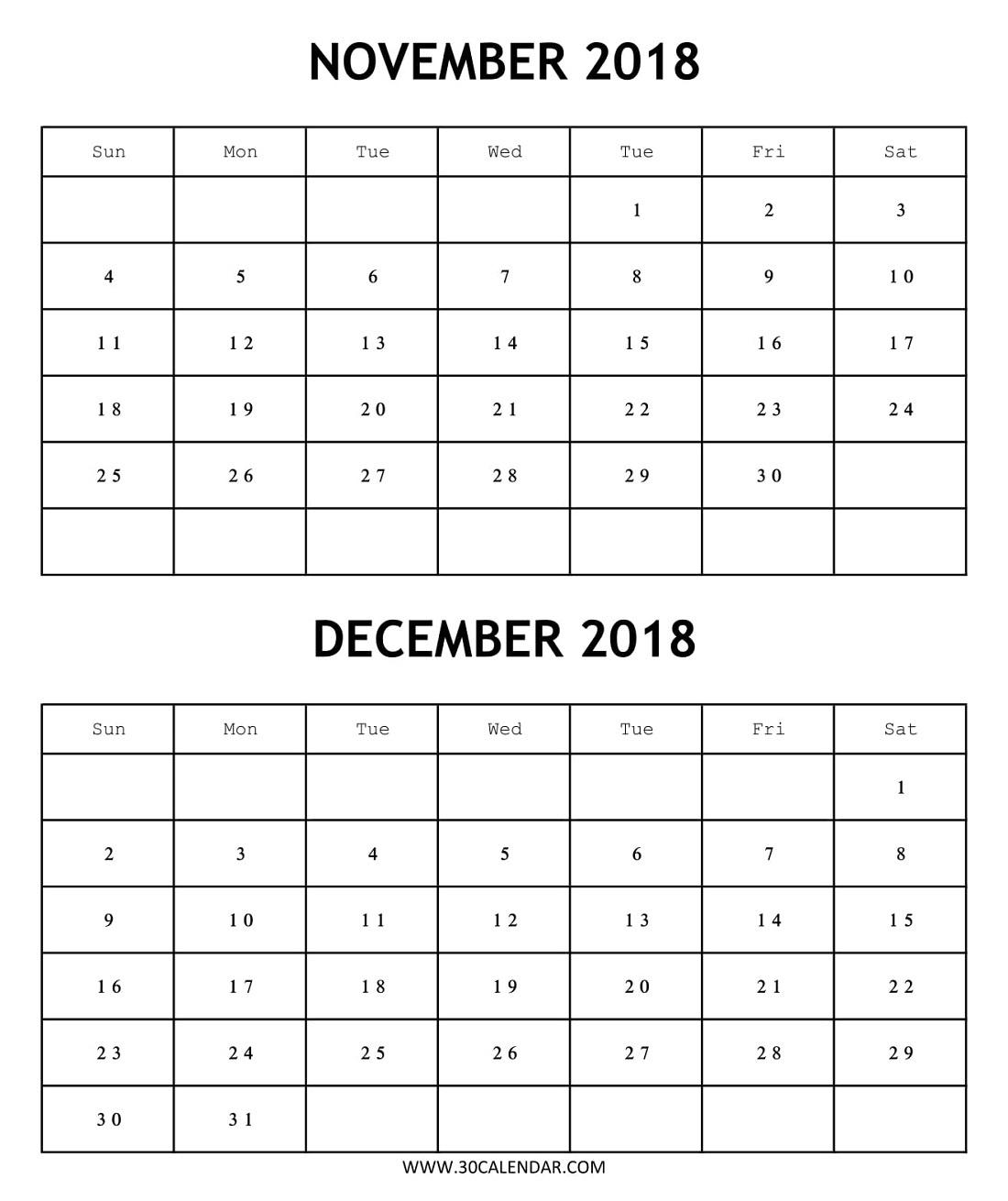 2 Month Calendar 2018 November December | Template Calendar Printable for 2 Month Calendar Template Printable