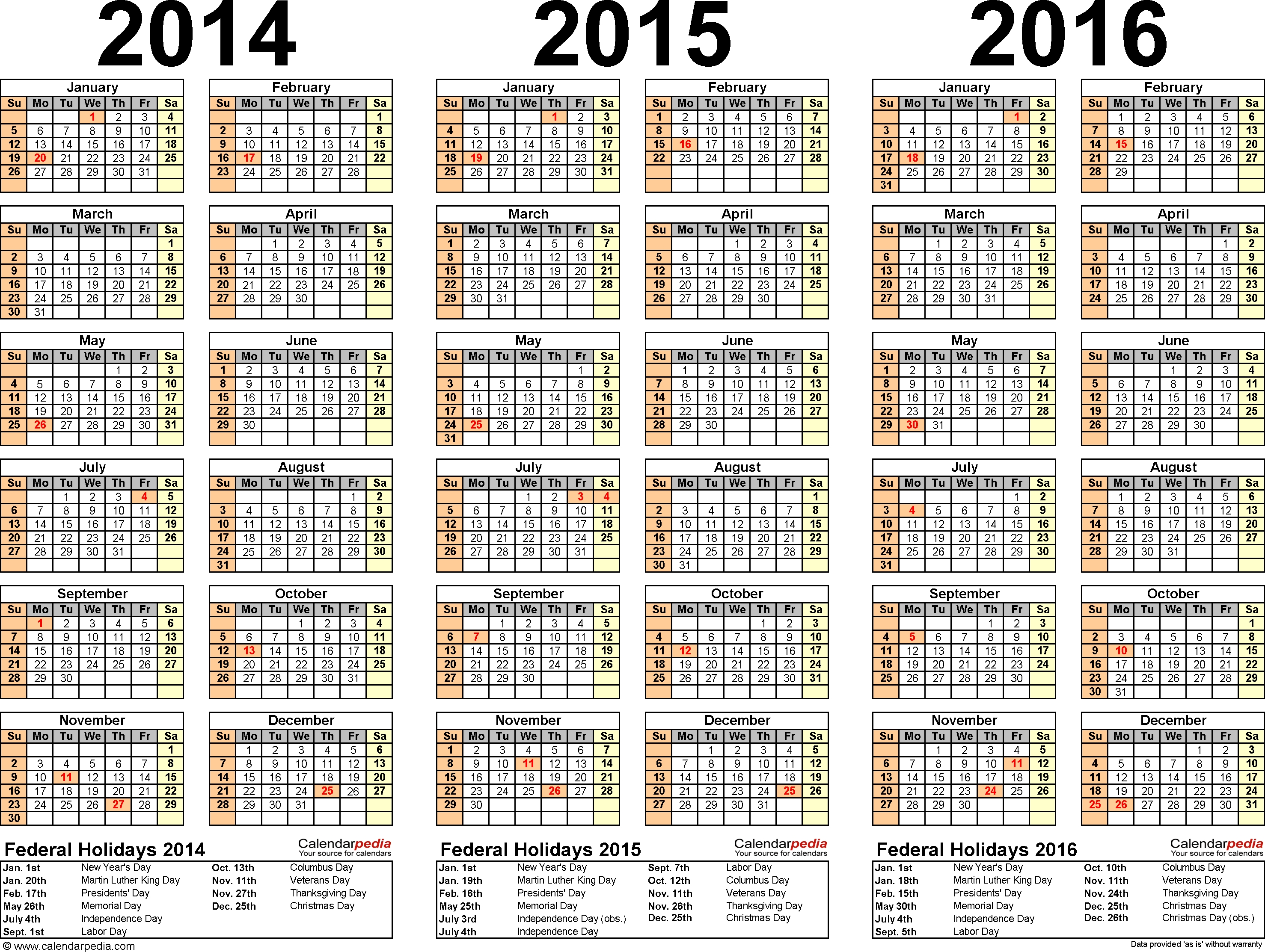 2014/2015/2016 Calendar - 4 Three-Year Printable Word Calendars within Calendar With All The Years