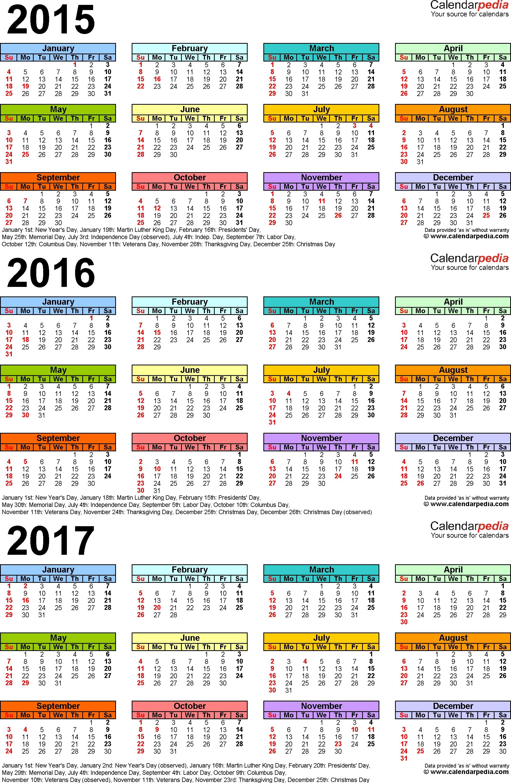 2015/2016/2017 Calendar - 4 Three-Year Printable Pdf Calendars pertaining to Calendar 2015 With Bangla Calendar