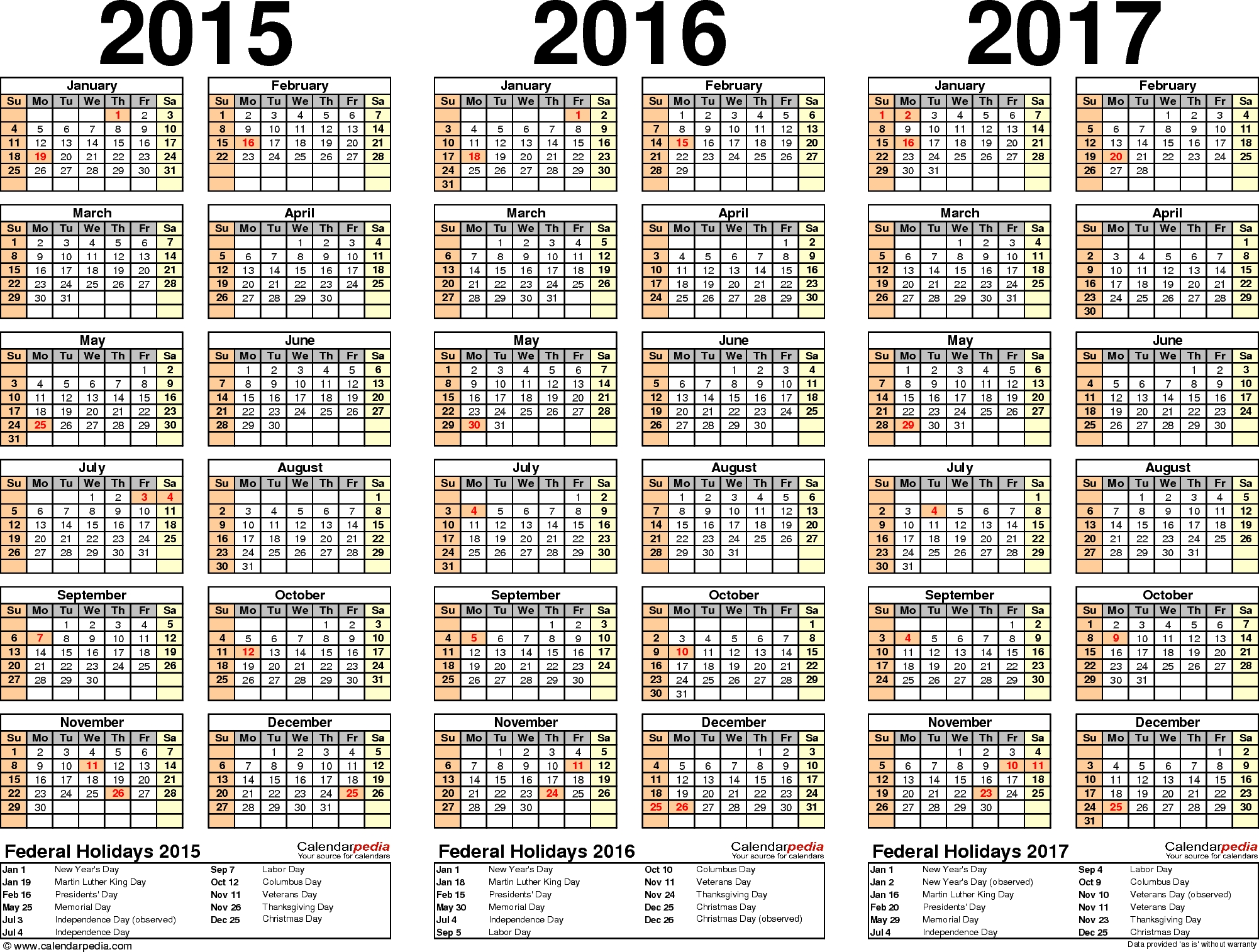 2015/2016/2017 Calendar - 4 Three-Year Printable Pdf Calendars throughout Calendar 2015 With Bangla Calendar