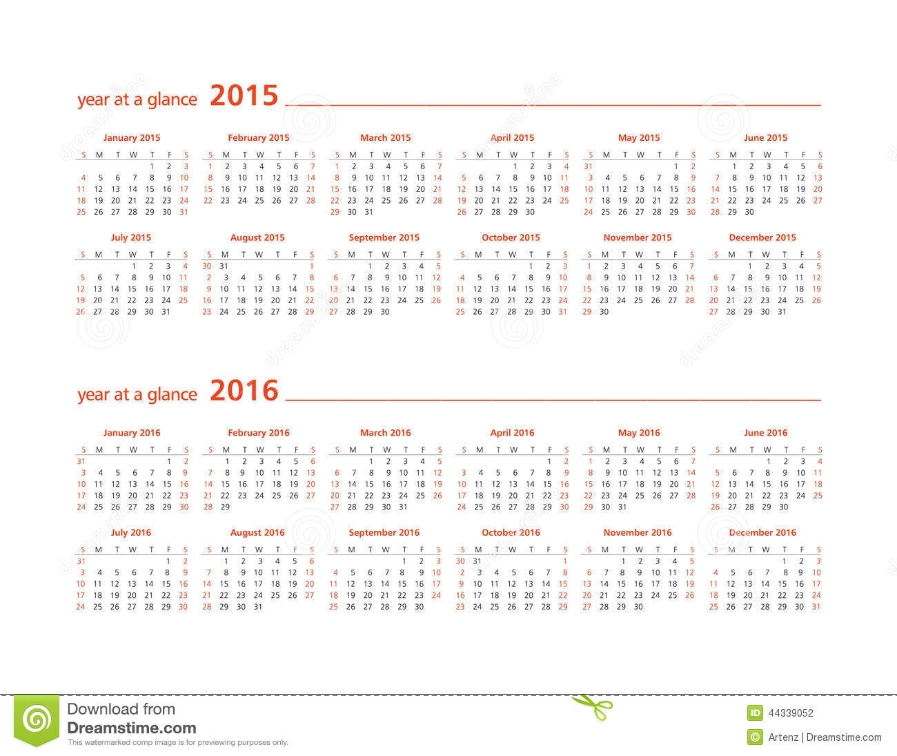 2015 And 2016 Year At A Glance Stock Illustration - Illustration Of for Calendar Year At A Glance