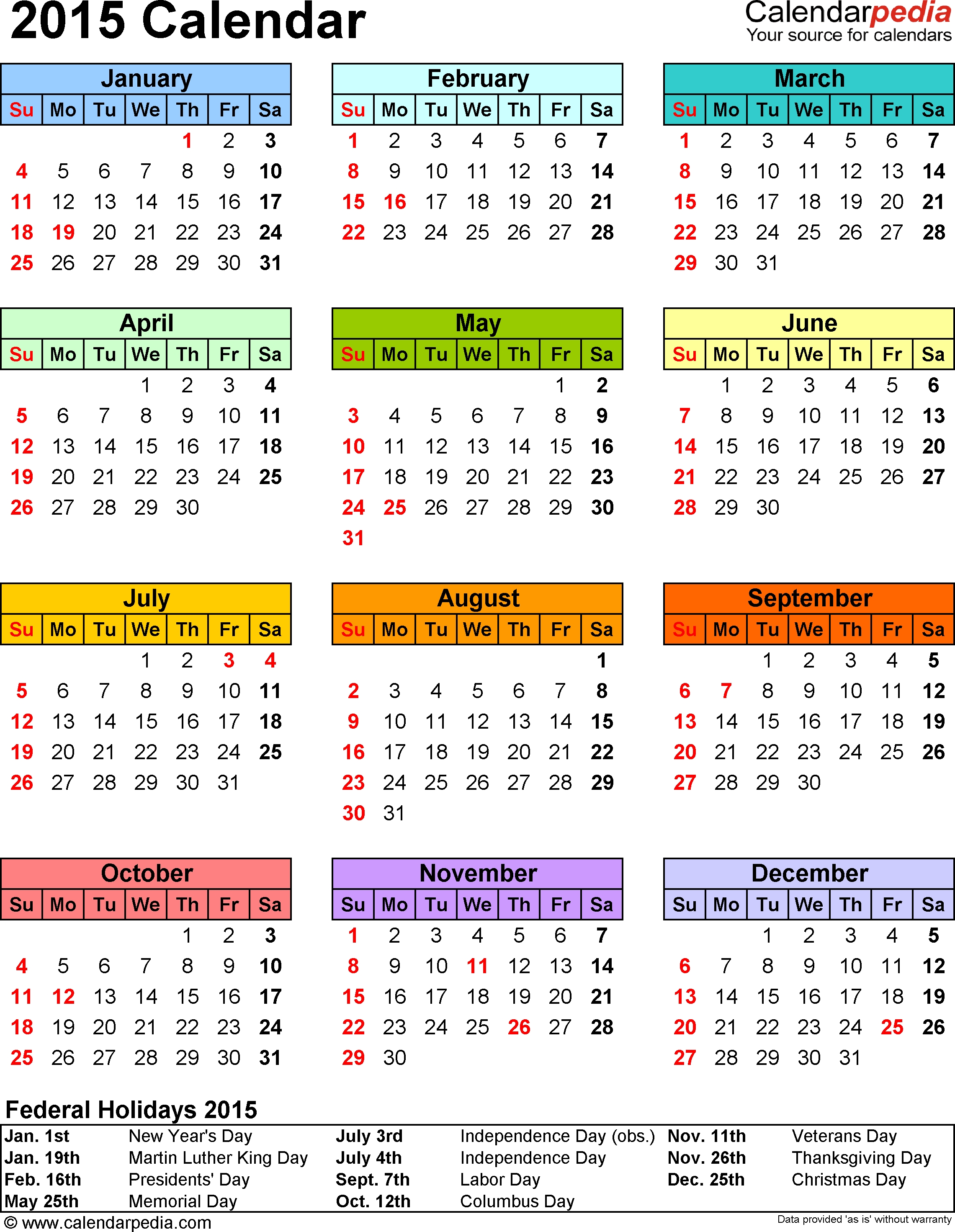 2015 Calendar Pdf - 16 Free Printable Calendar Templates For Pdf intended for Downloadable Employee Vacation Calendar 2015