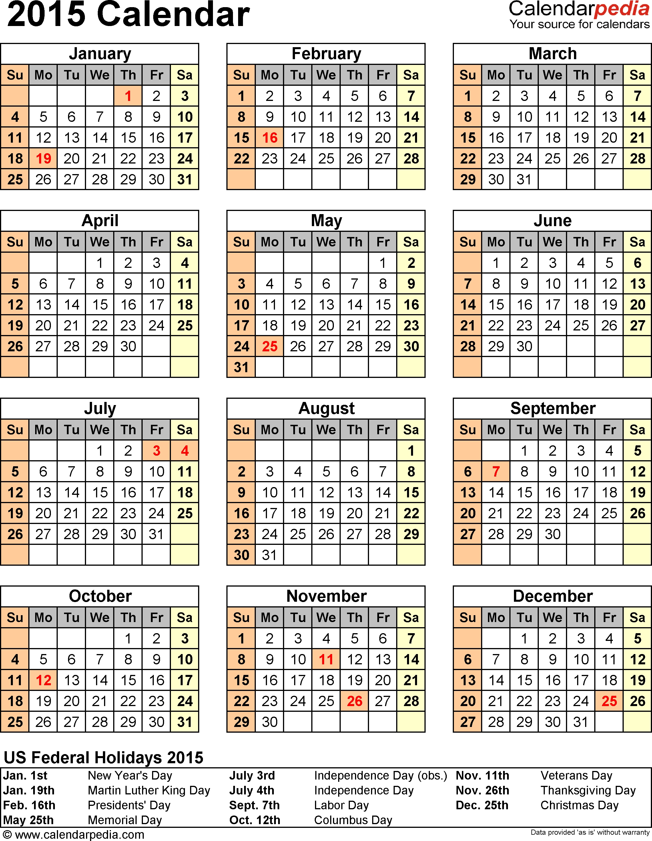 2015 Calendar With Federal Holidays & Excel/pdf/word Templates inside Downloadable Employee Vacation Calendar 2015