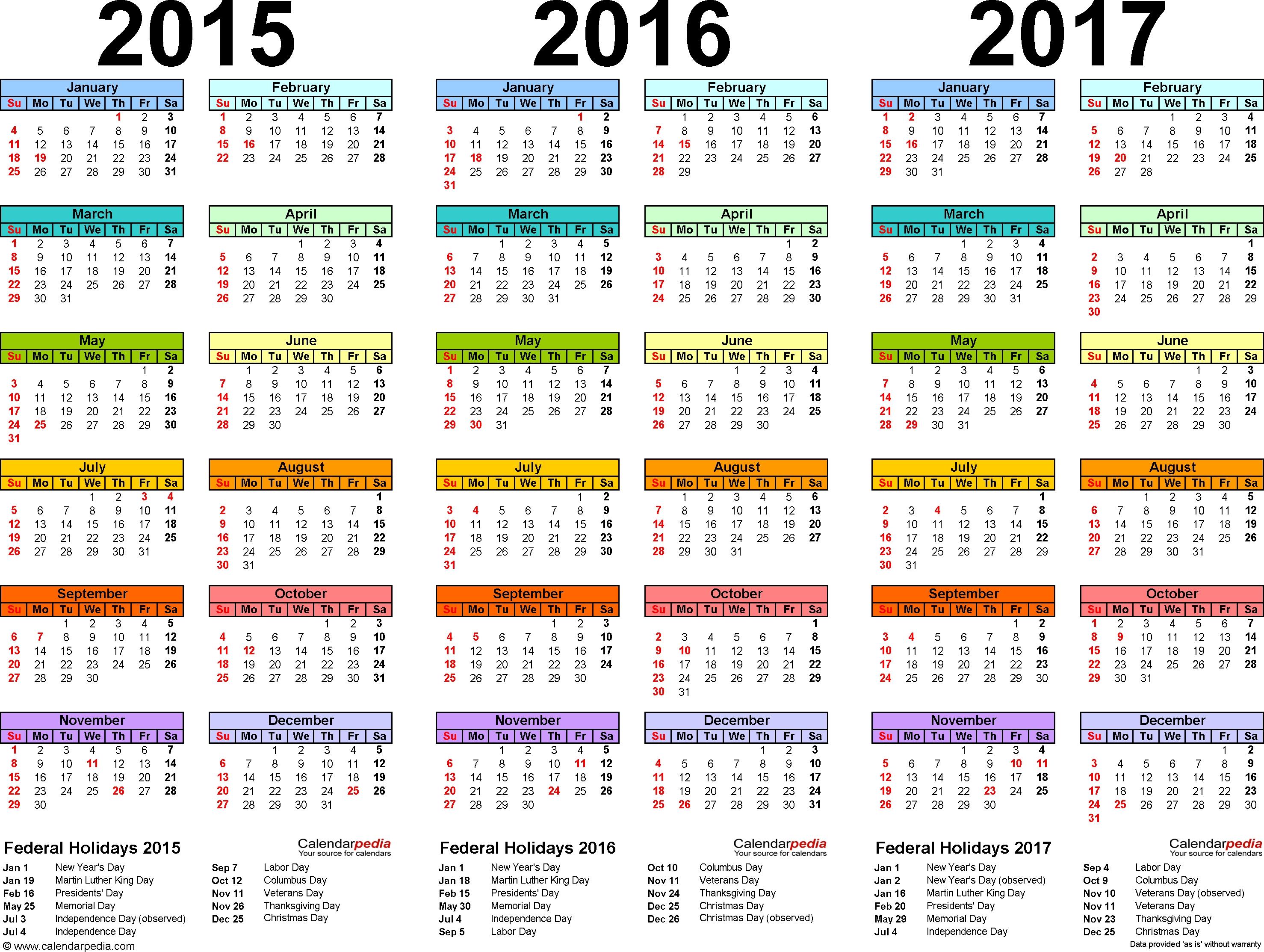 2015 Calendars | Template 1: Pdf Template For Three Year Calendar throughout Islamic Calendar 2015 Pdf Free Download
