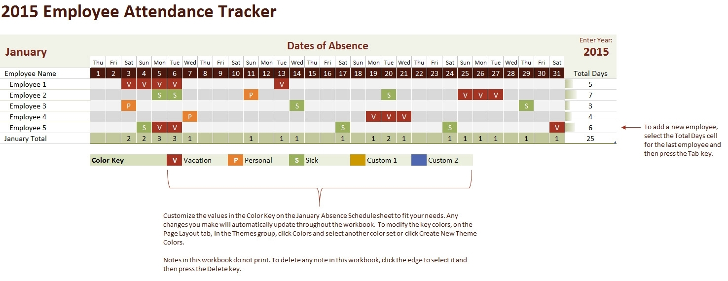 2015 Employee Attendance Tracking Calendar with Excel Employee Attendance Calendar Template