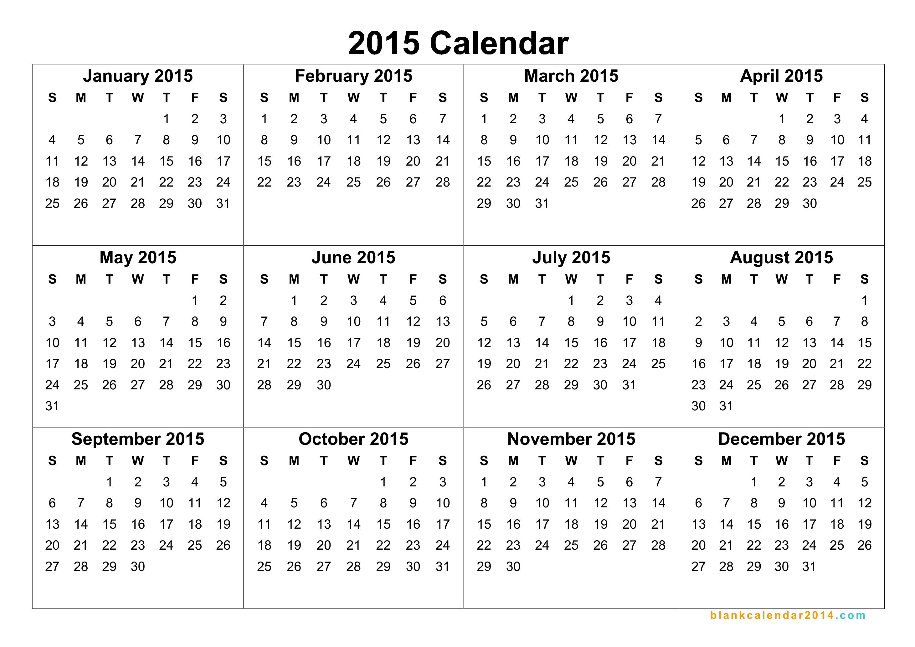 2015 Full Year Calendar Printable - Maco.palmex.co for 12 Months Printable Calendar Whole