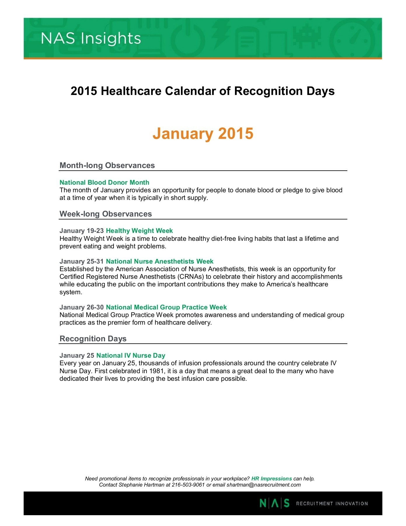 2015 Healthcare Calendar Of Recognition Days Pages 1 - 19 - Text for Calendar Of Nursing Recognitin Days