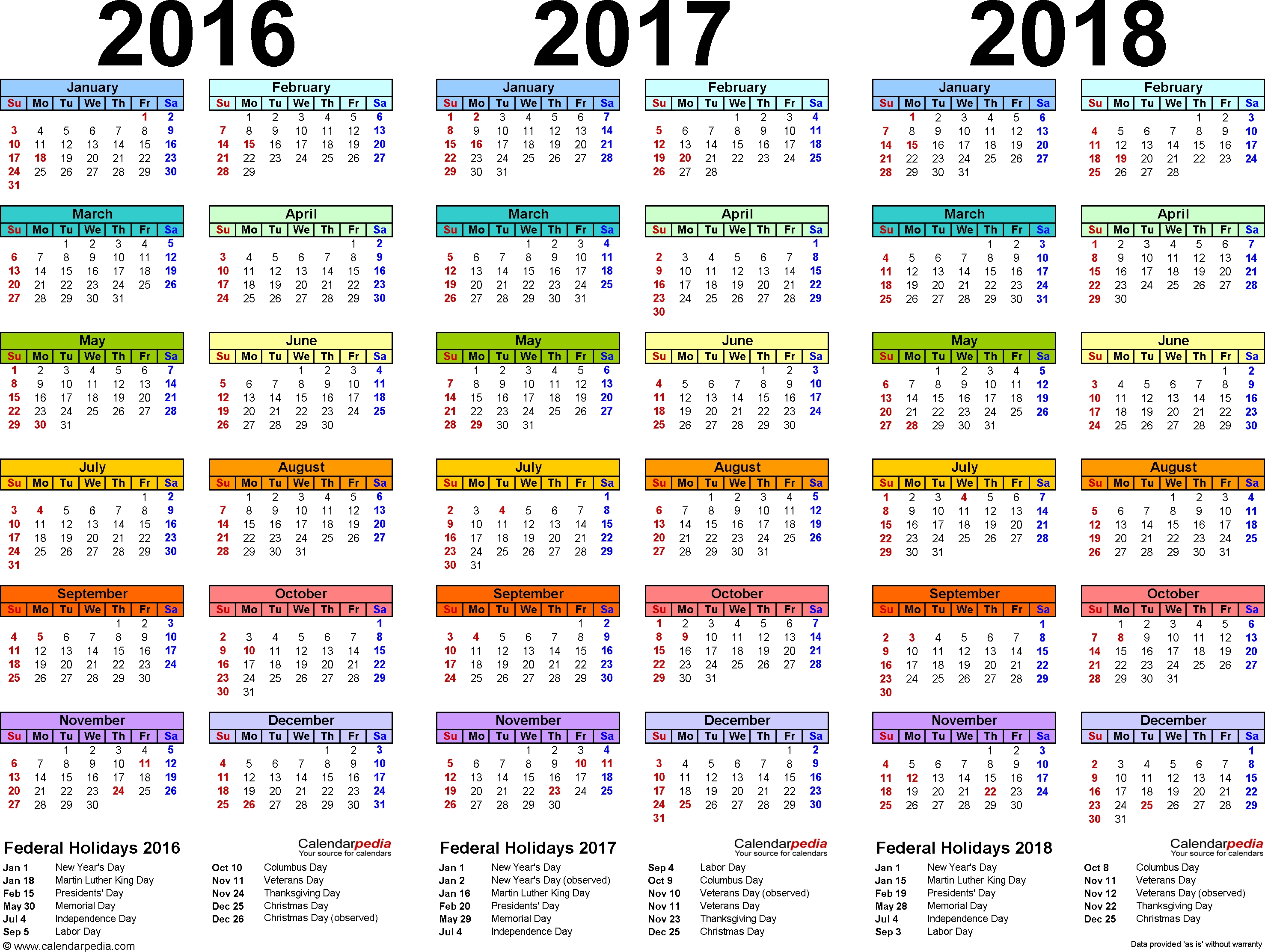 2016/2017/2018 Calendar - 4 Three-Year Printable Pdf Calendars pertaining to Calendar 2015 With Bangla Calendar