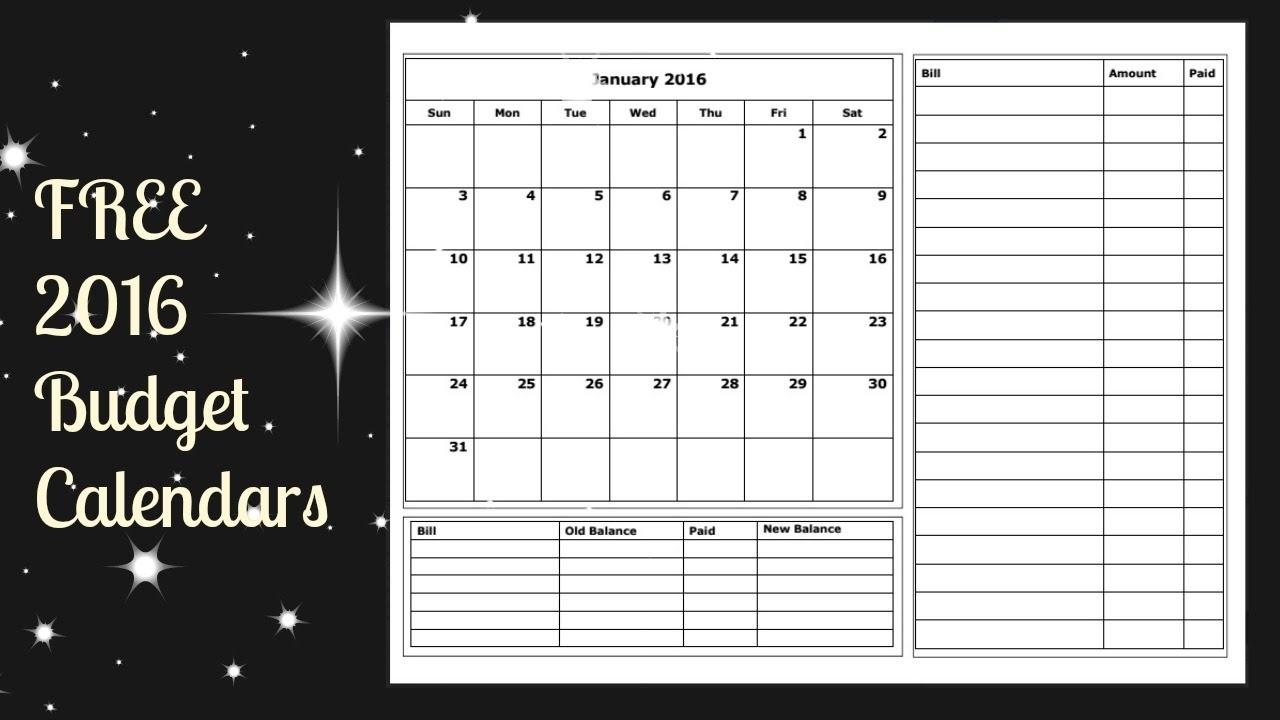 2016 Budget Calendar Free Printable - Youtube inside Free Printable Calendars For Bills